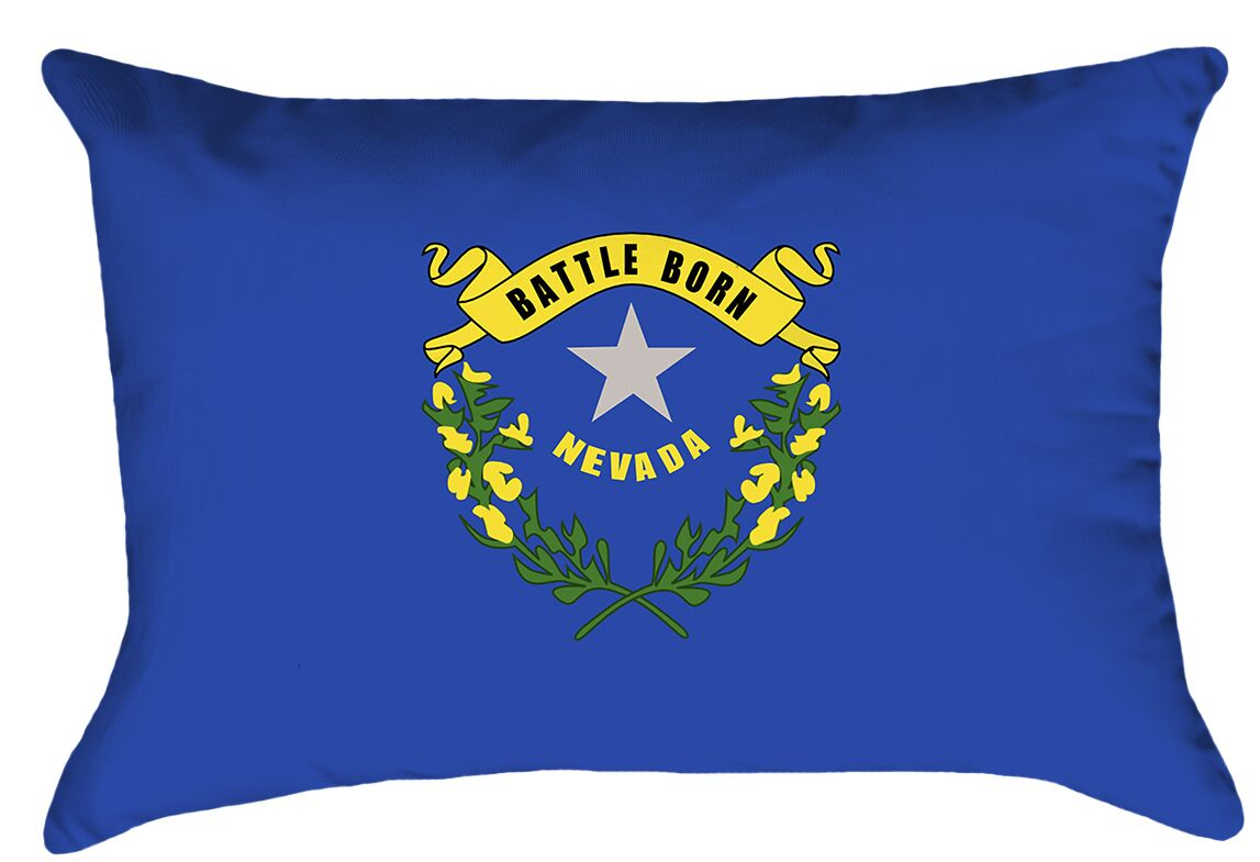 Nevada Flag Cover Material: Cotton Twill-Concealed Zipper-Indoor, Fill Material: No Fill, Product Type: Pillow Cover