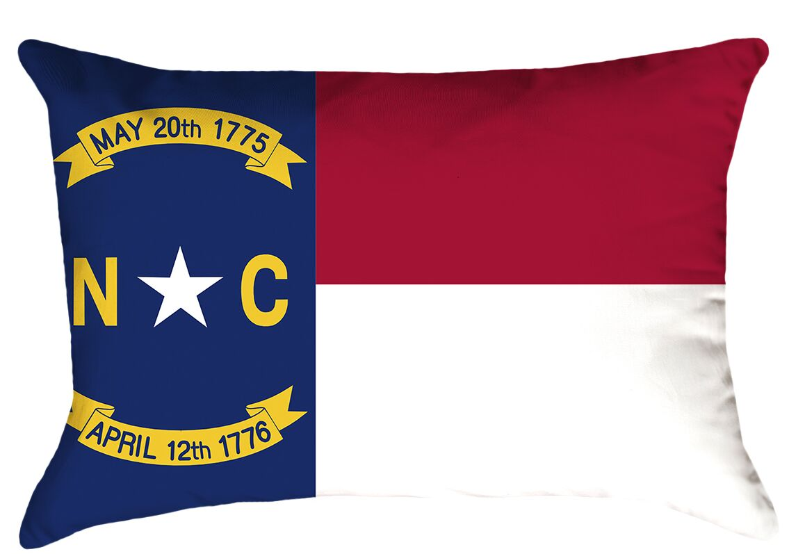 North Carolina Flag Product Type: Lumbar Pillow, Fill Material: Polyester, Cover Material: Polyester-No Zipper-Outdoor