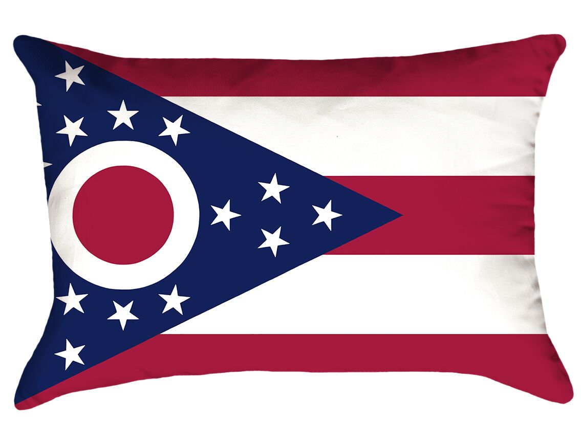 Ohio Flag Product Type: Lumbar Pillow, Cover Material: Poly Proplin-Concealed Zipper and Insert-Indoor, Fill Material: Polyester