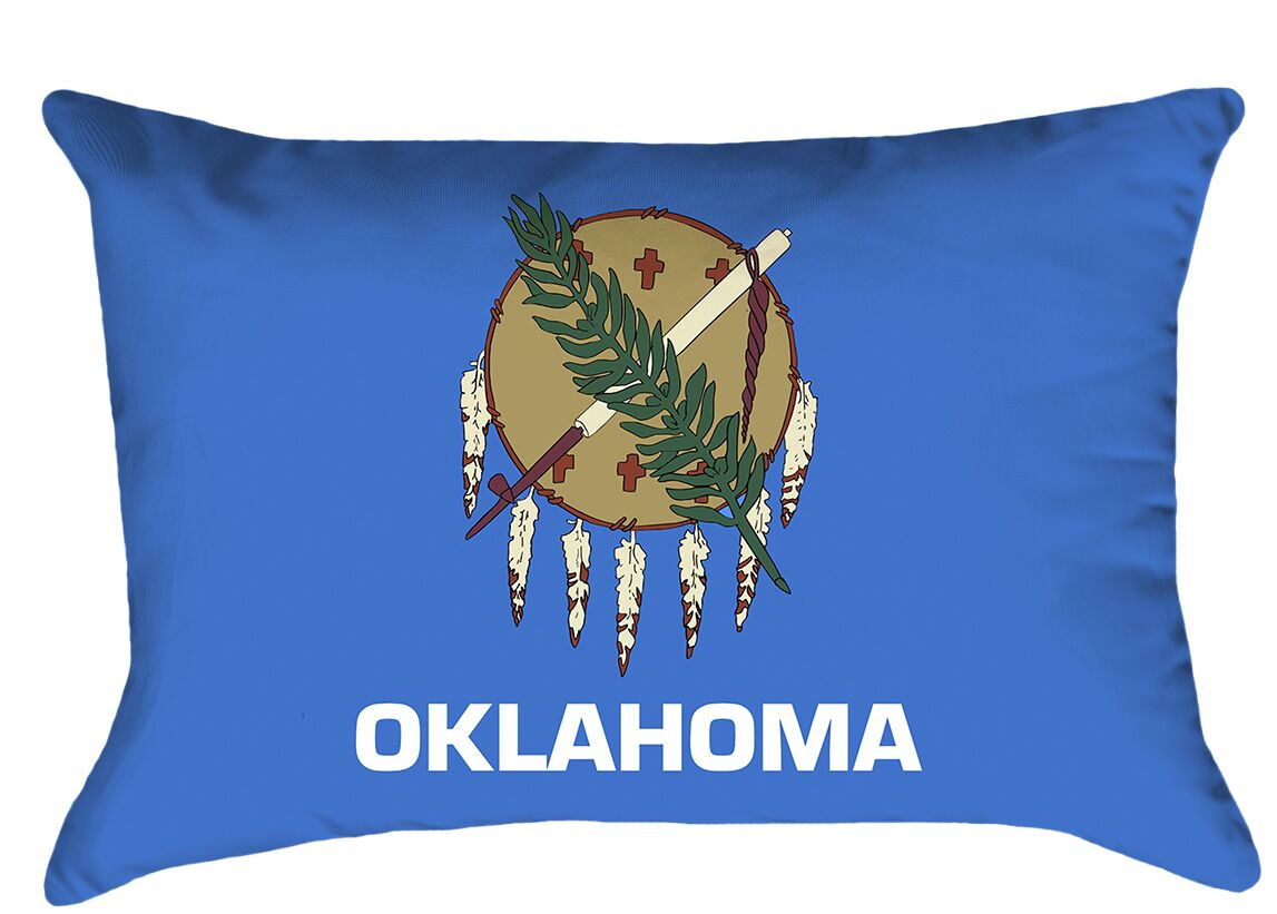 Oklahoma Flag Cover Material: Faux Suede-Concealed Zipper-Indoor, Fill Material: No Fill, Product Type: Pillow Cover