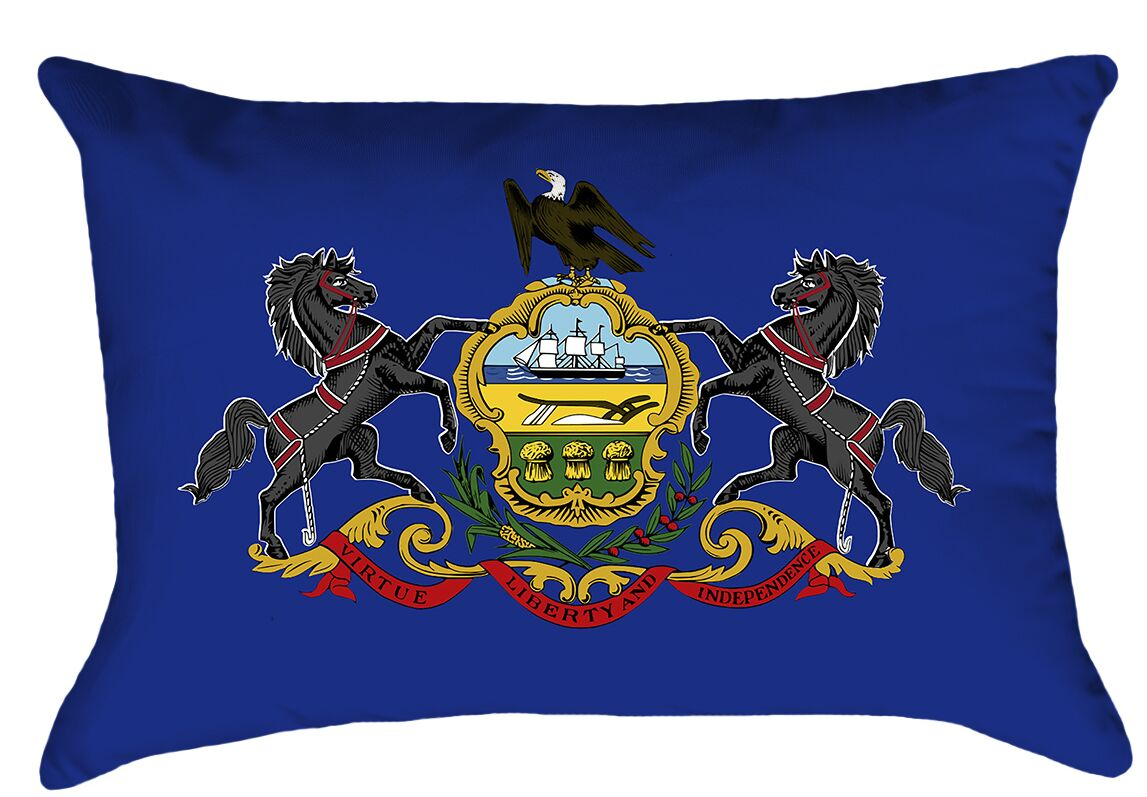 Cervantes Pennsylvania Flag Cover Material: Faux Suede-Concealed Zipper-Indoor, Fill Material: No Fill, Product Type: Pillow Cover