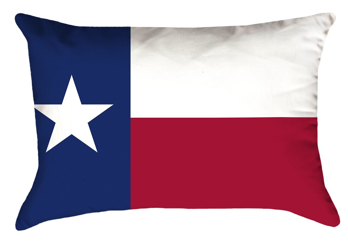 Texas Flag Product Type: Lumbar Pillow, Fill Material: Polyester, Cover Material: Polyester-No Zipper-Outdoor