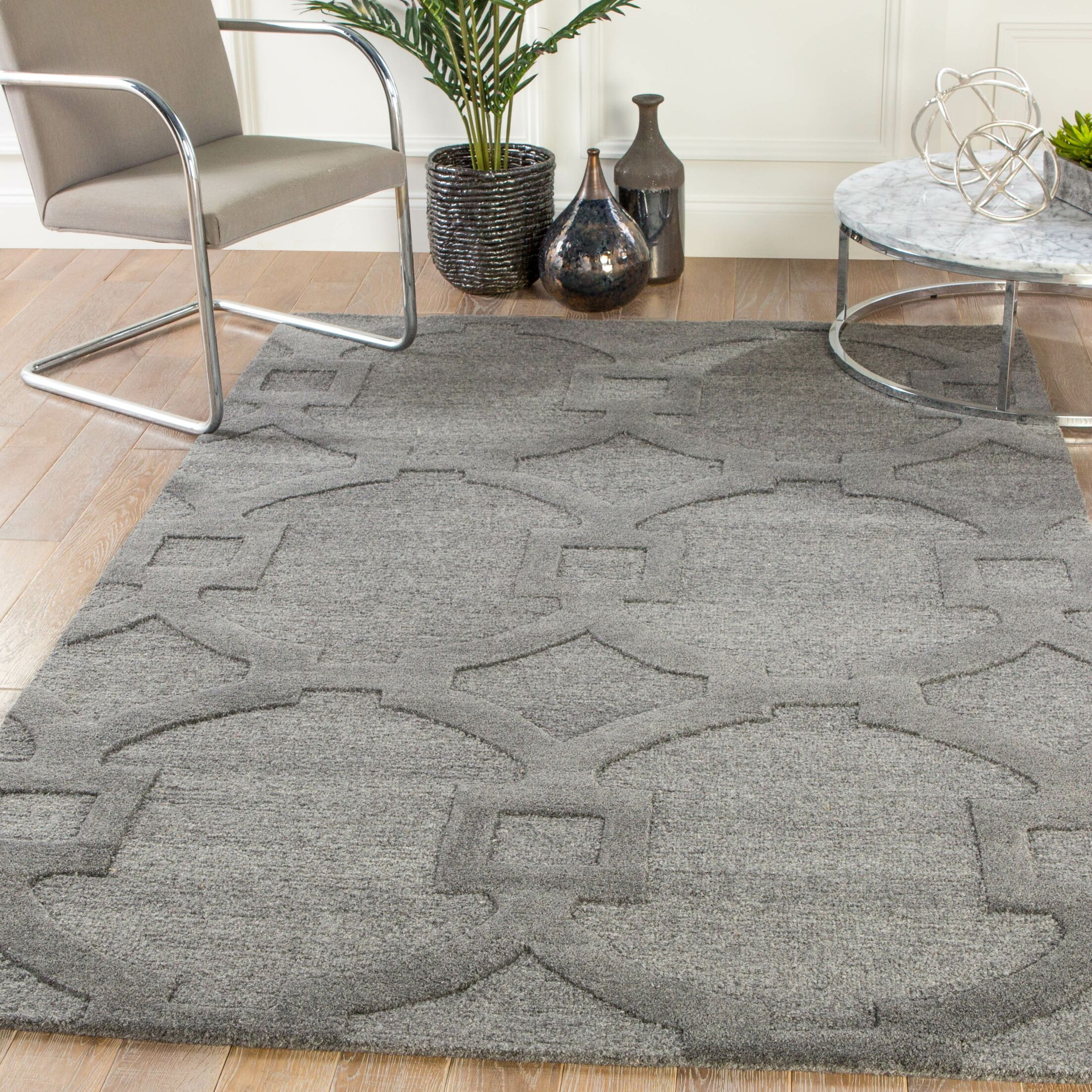 Bohara Trellis Hand-Tufted Wool Gray Area Rug Rug Size: Rectangle 2' x 3'