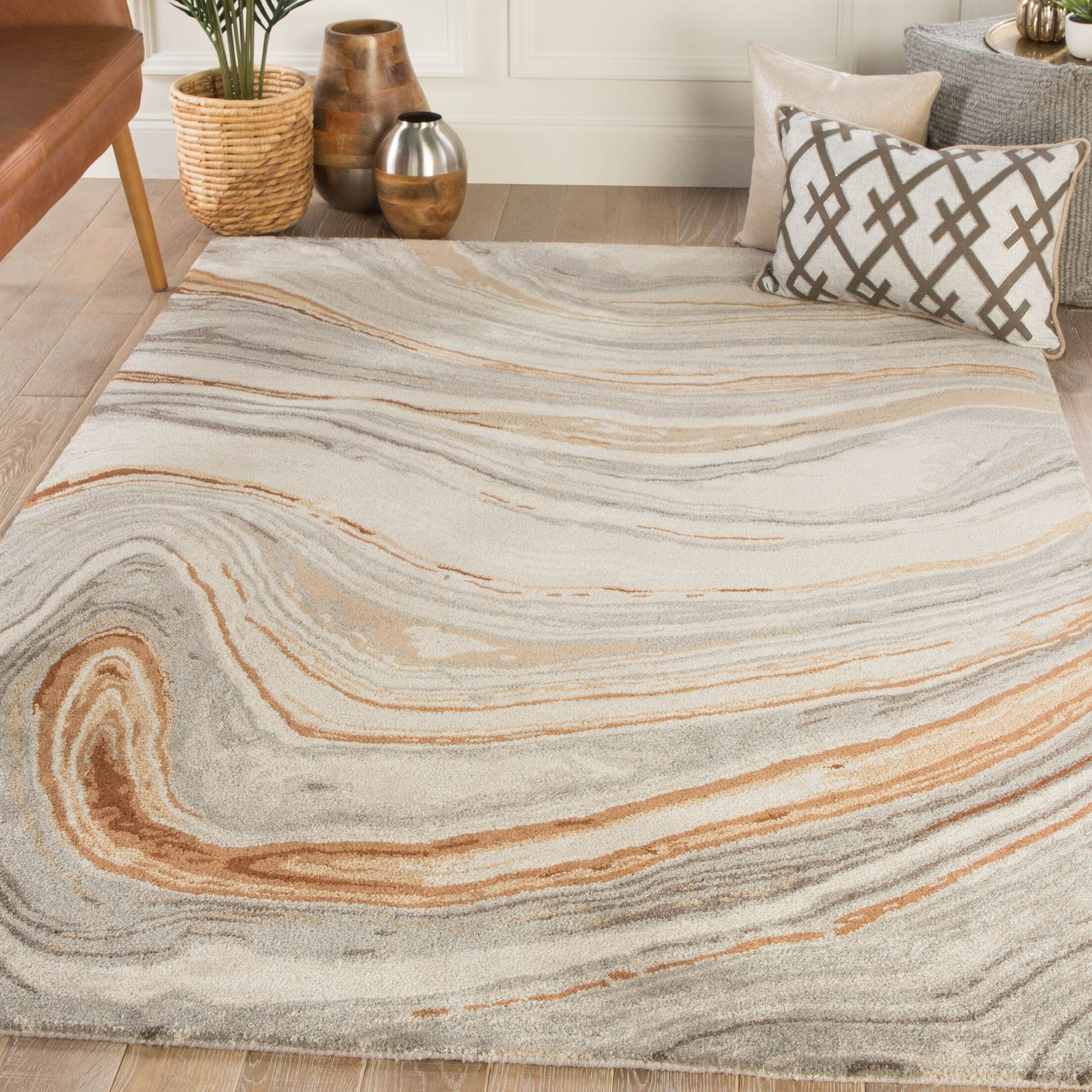Fairmont Abstract Hand-Tufted Copper/Gray Area Rug Rug Size: Rectangle 9' x 13'