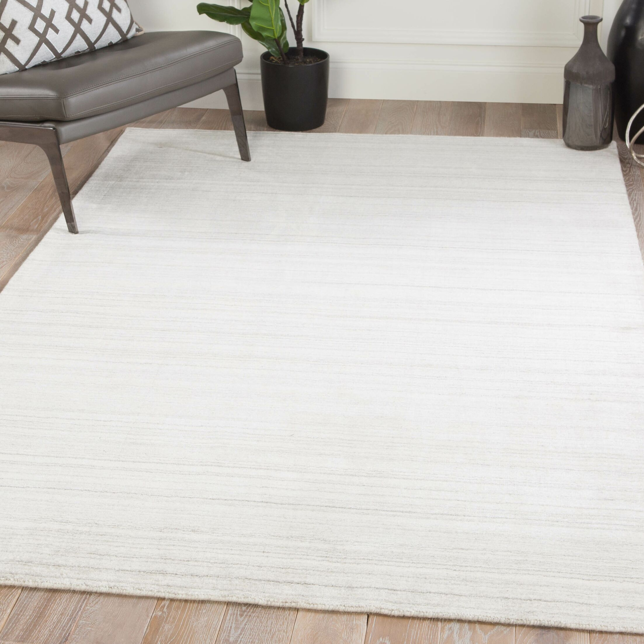 Knott Hand-Woven Ivory/Gray Area Rug Rug Size: Rectangle 9' x 12'