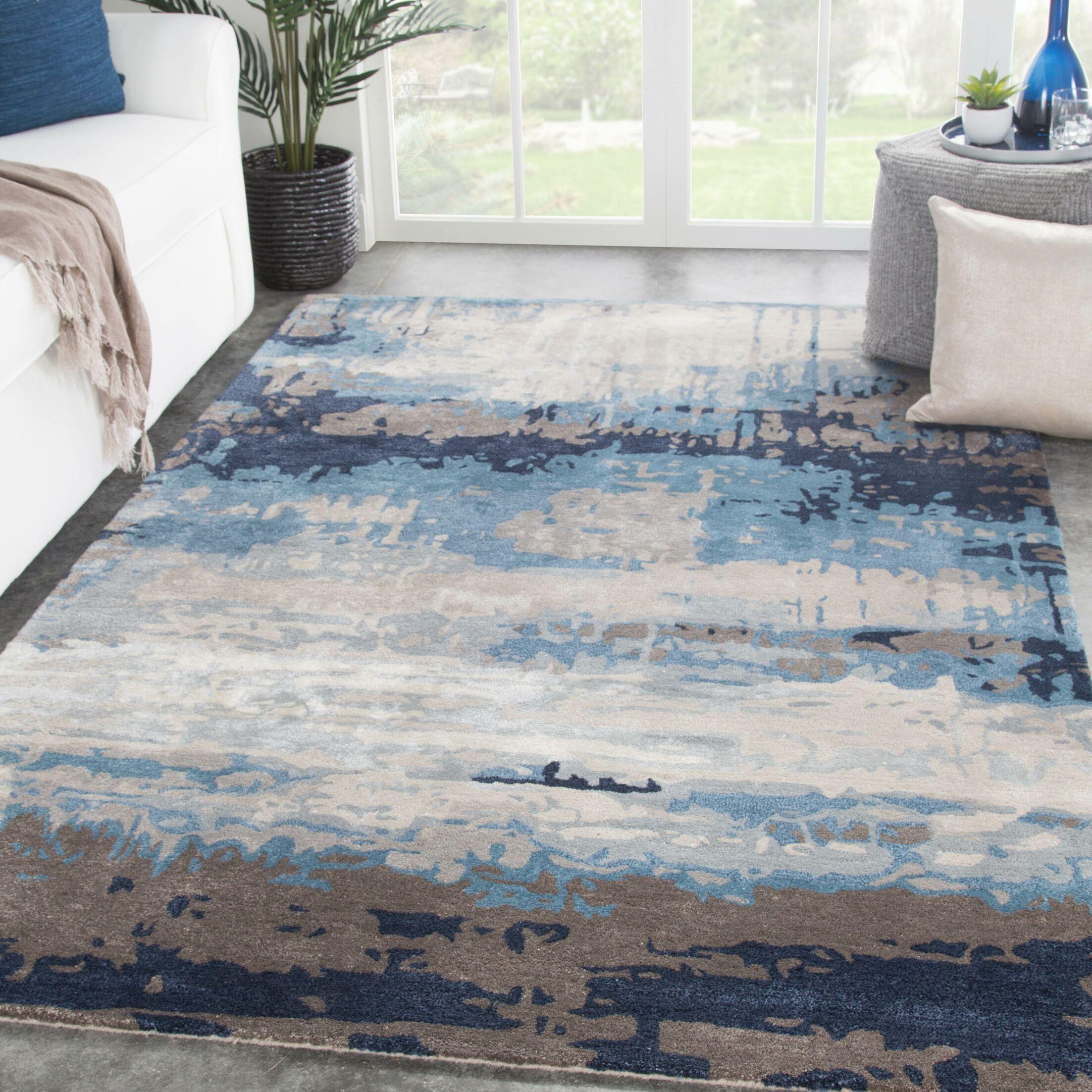 Fairmount Abstract Hand-Tufted Blue/Gray Area Rug Rug Size: Rectangle 5' x 8'