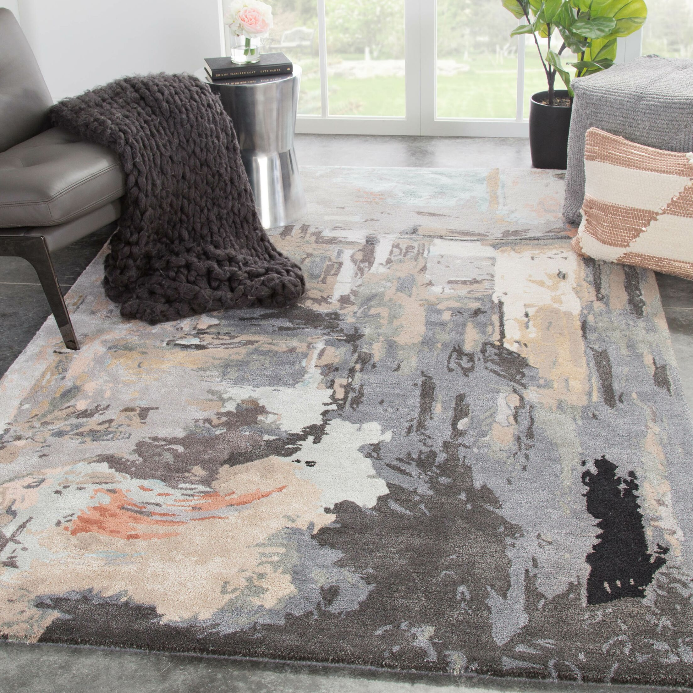 Fairgrove Abstract Hand-Tufted Gray/Beige Area Rug Rug Size: Rectangle 9' x 13'