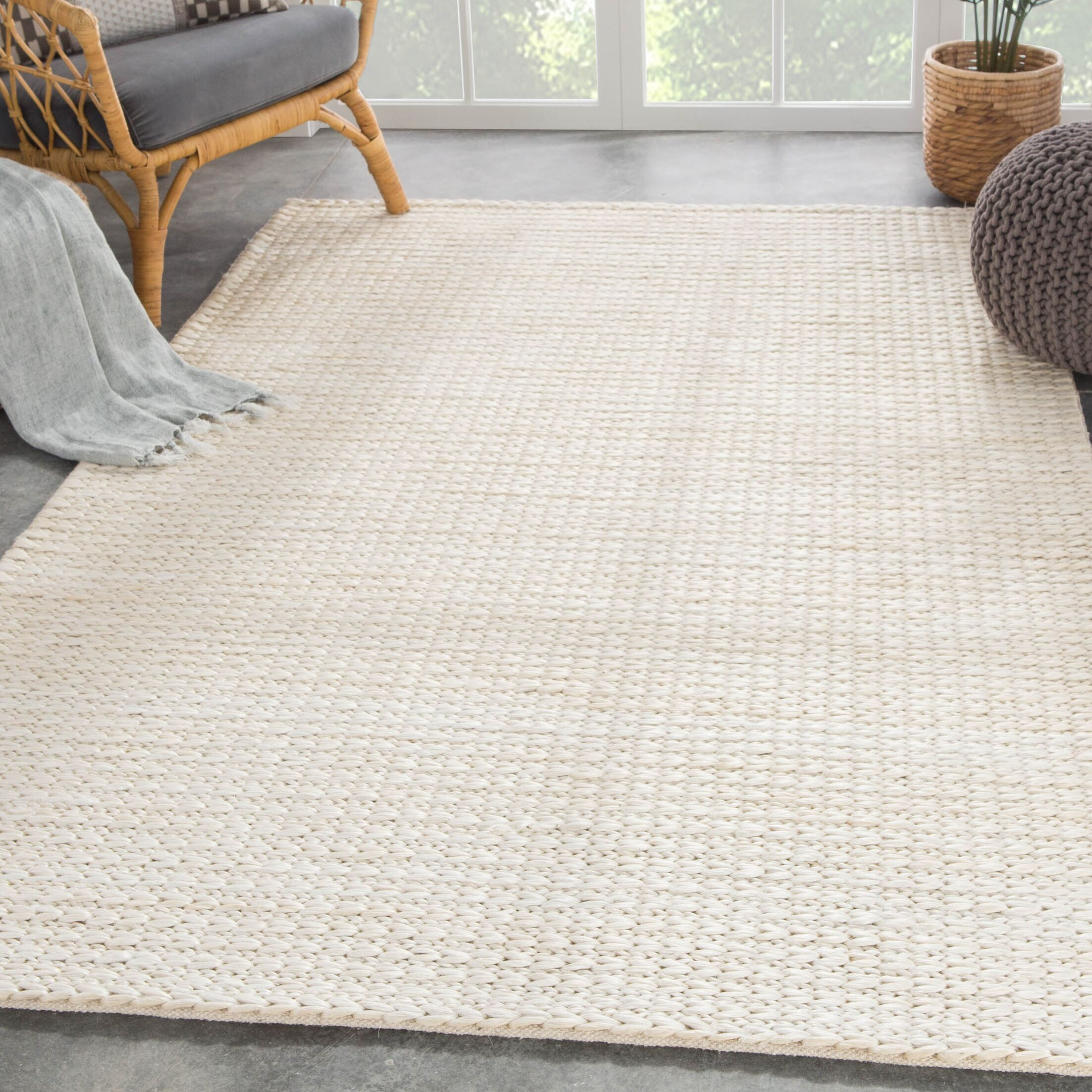 Giselle Natural Solid Hand Woven White Area Rug Rug Size: Rectangle 8' x 10'