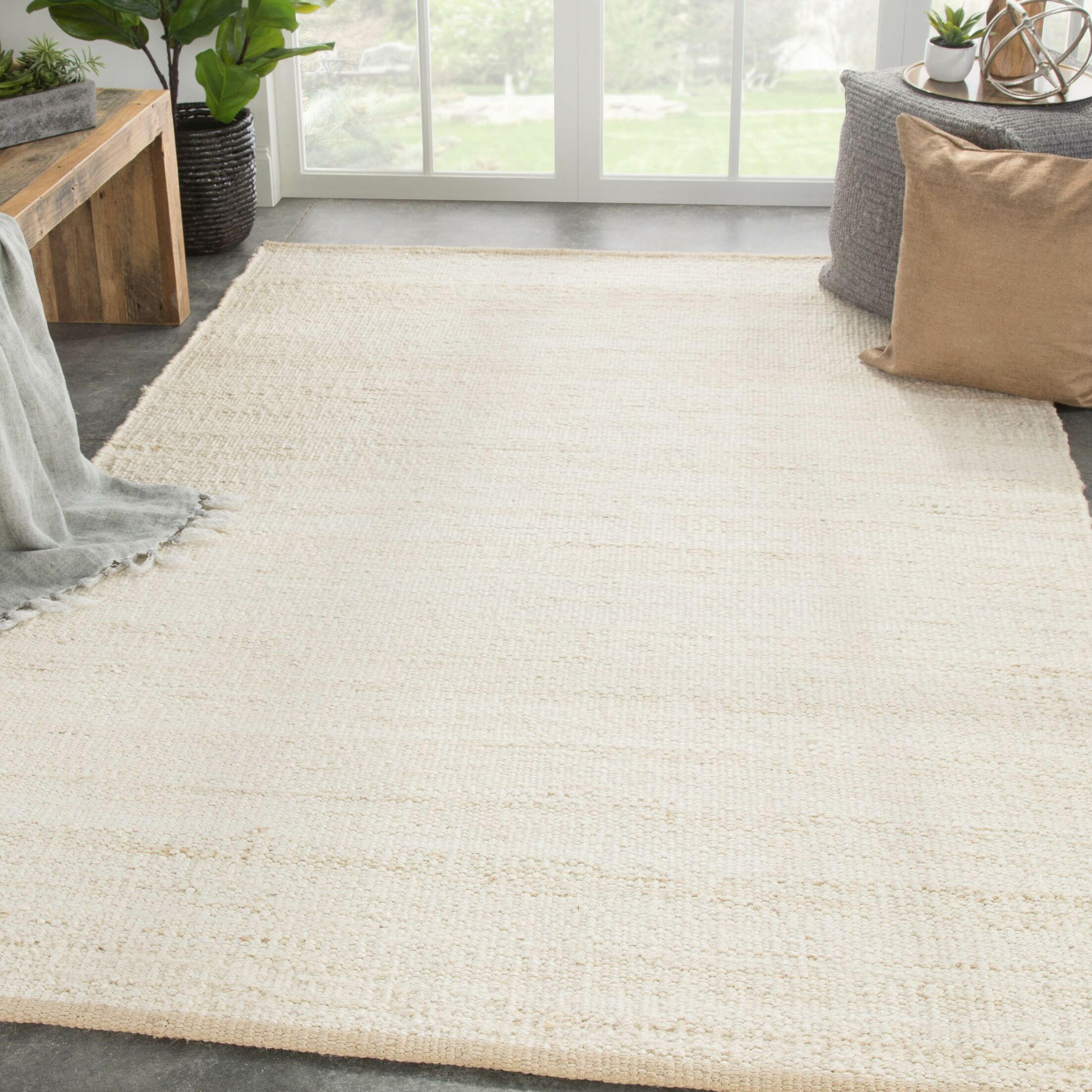 Prentiss Natural Solid Hand-Woven Cream Area Rug Rug Size: Rectangle 9' x 12'