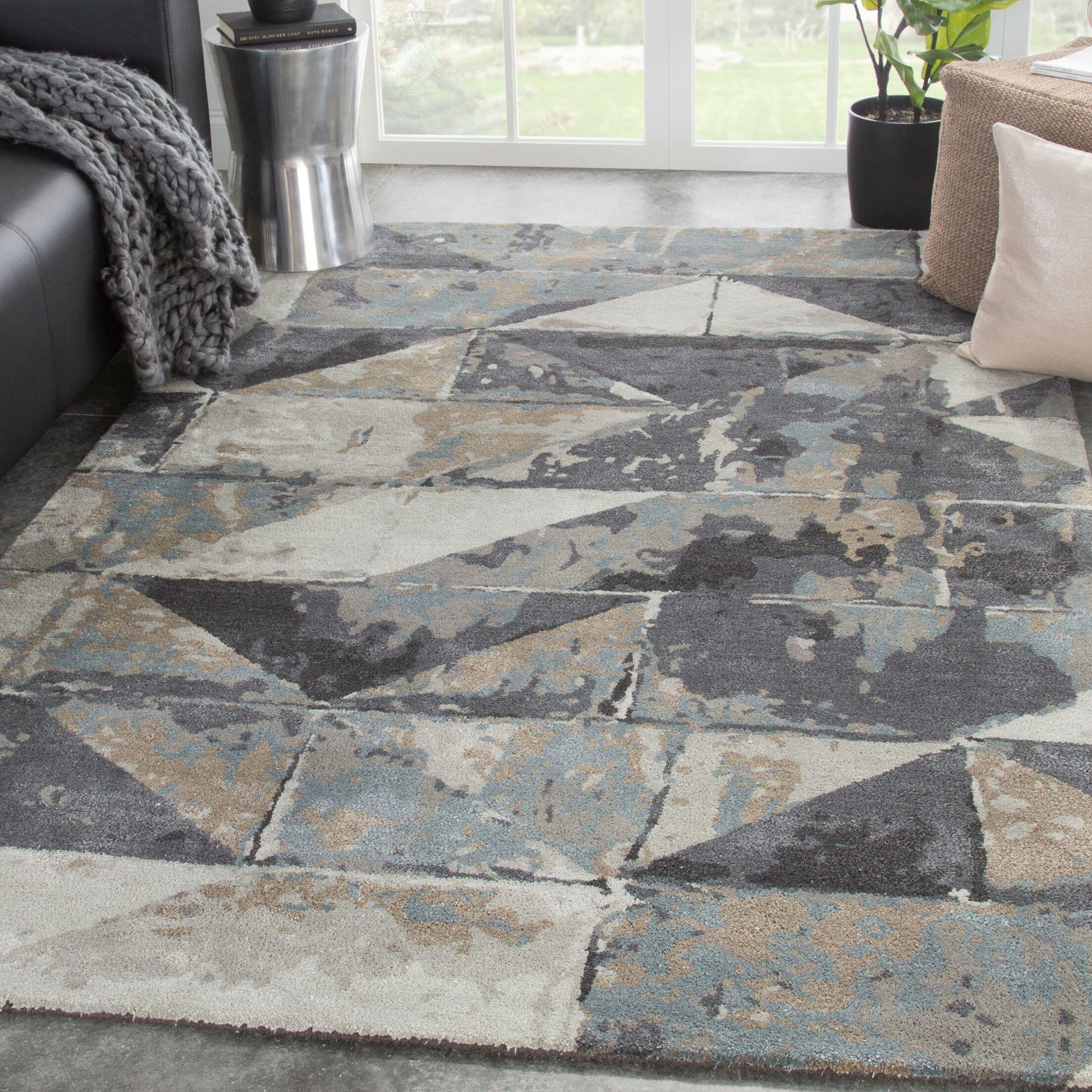 Mintz Geometric Hand-Tufted Gray/Beige Area Rug Rug Size: Rectangle 8' x 11'