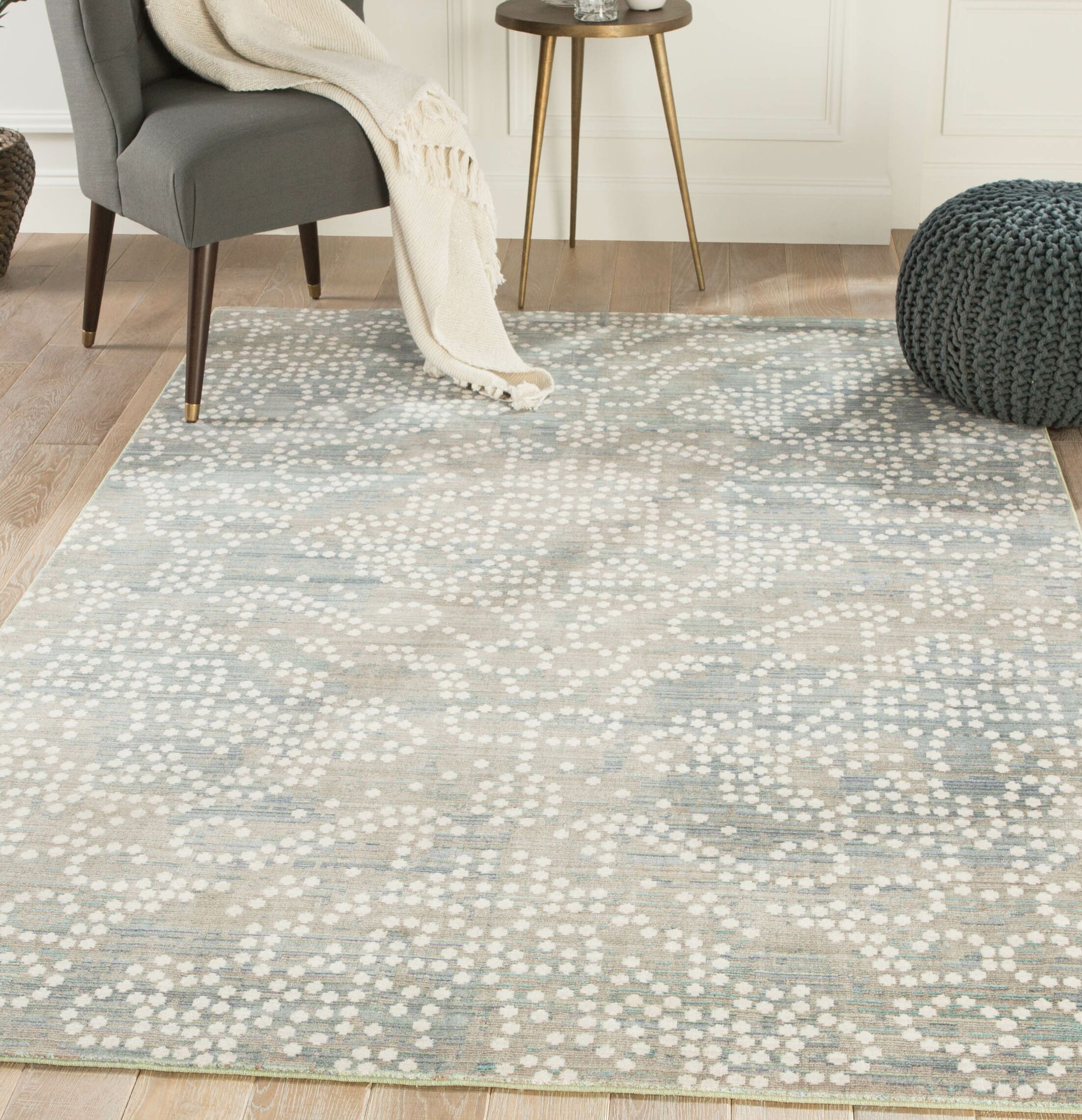 Lilley Damask Gray/White Area Rug Rug Size: Rectangle 8' x 10'
