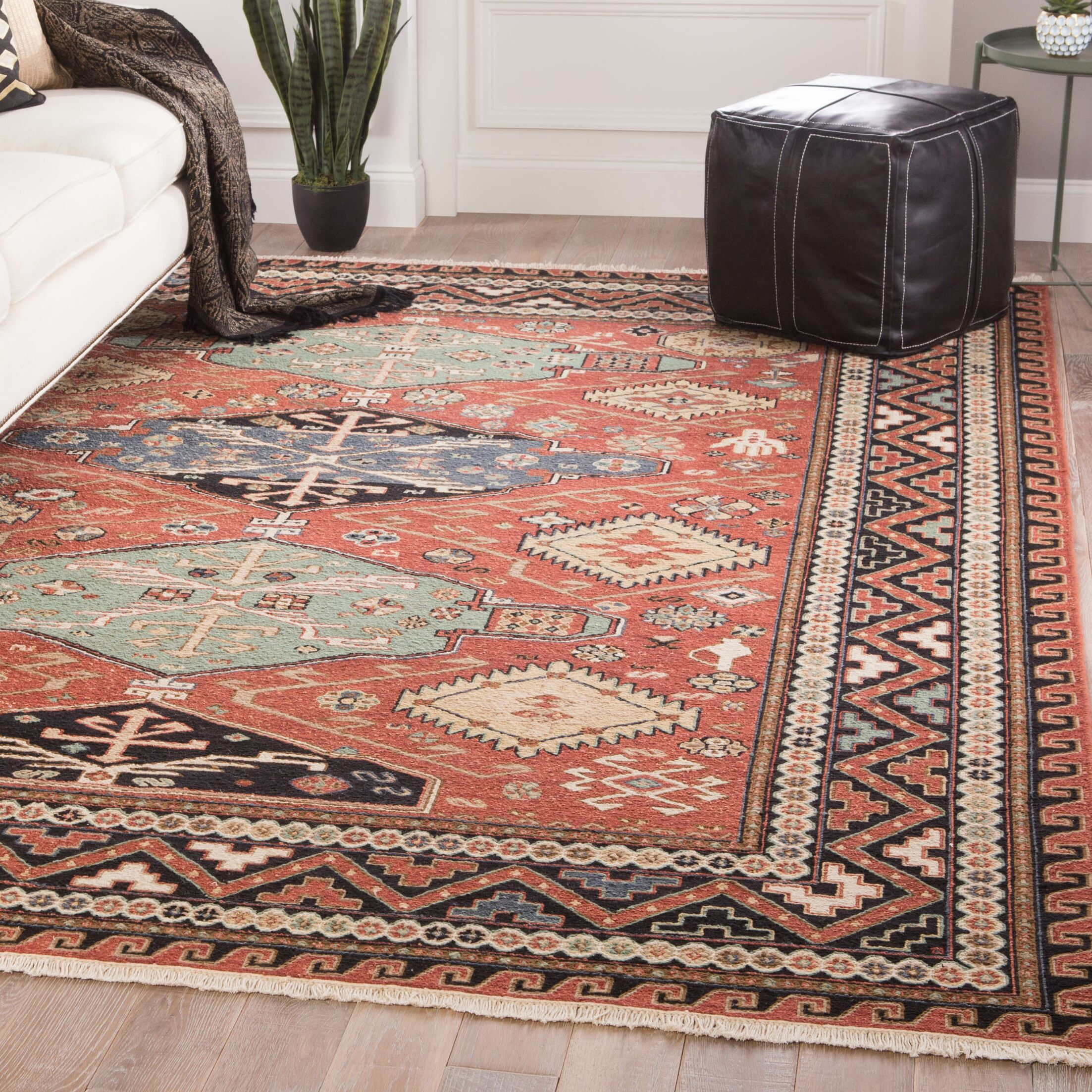 Wickline Medallion Hand-Knotted Wool Red Area Rug Rug Size: Rectangle 2' x 3'
