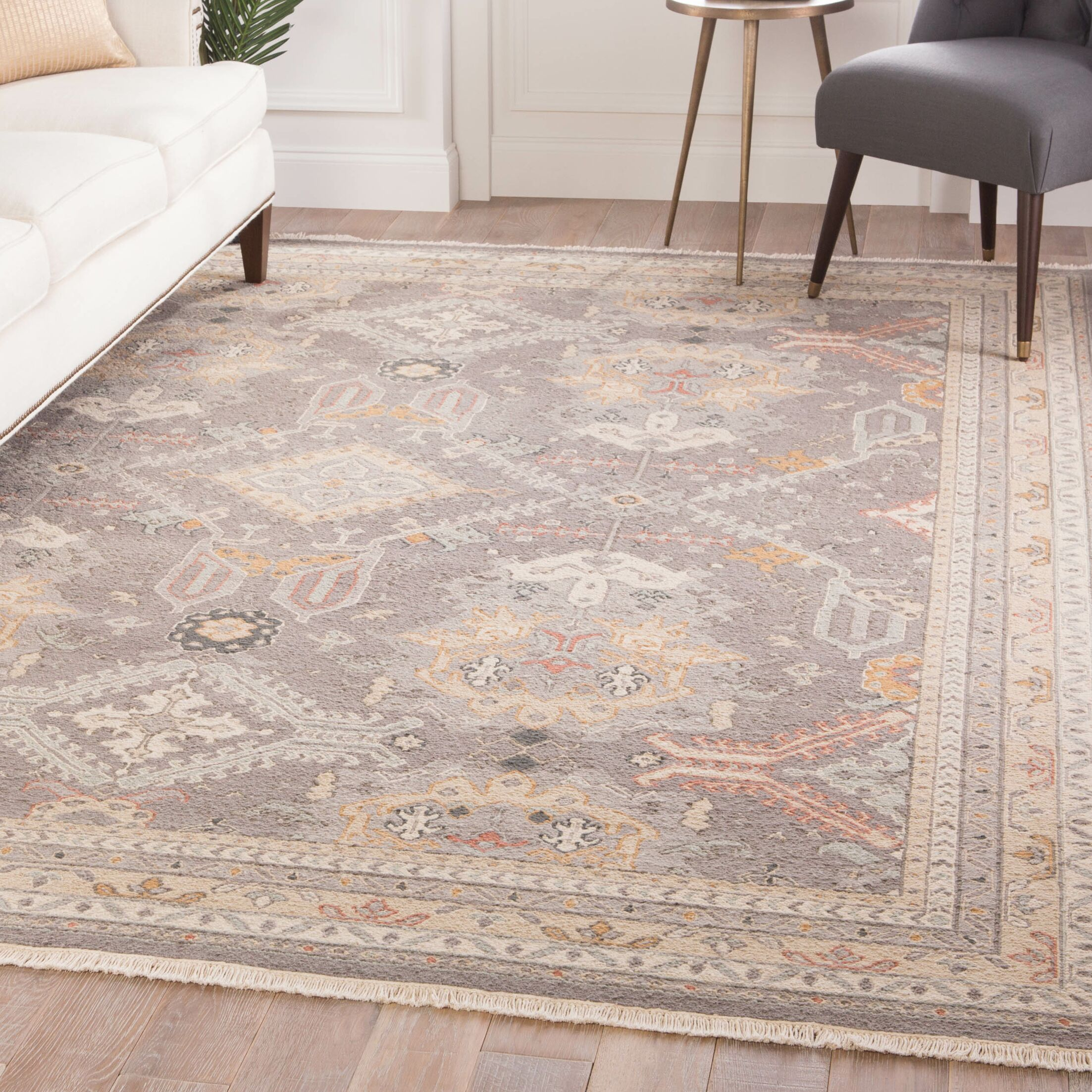 Lake Macquarie Medallion Hand-Knotted Wool Gray Area Rug Rug Size: Rectangle 6' x 9'