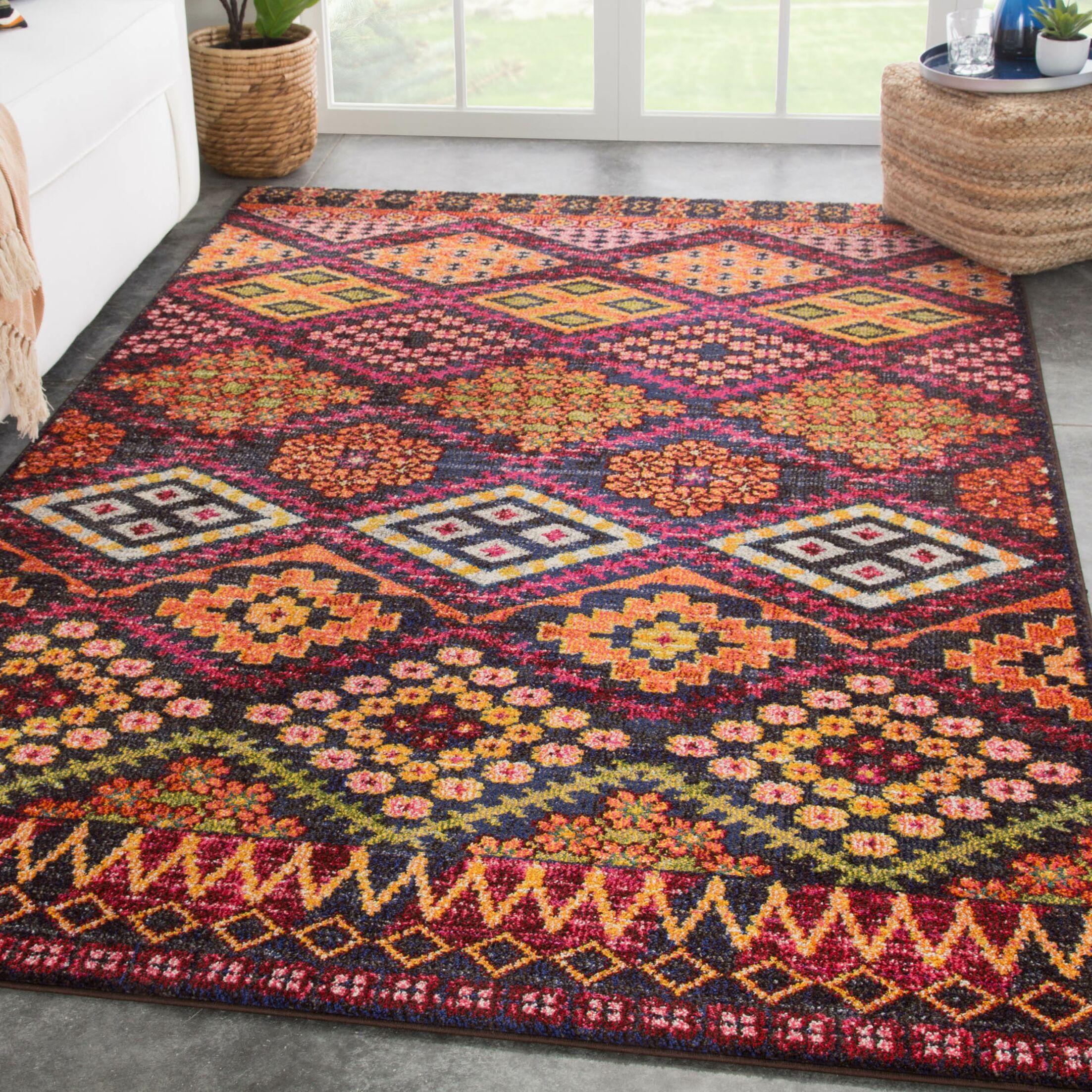 Finkel Pink/Orange Area Rug Rug Size: Rectangle 4' x 5'8