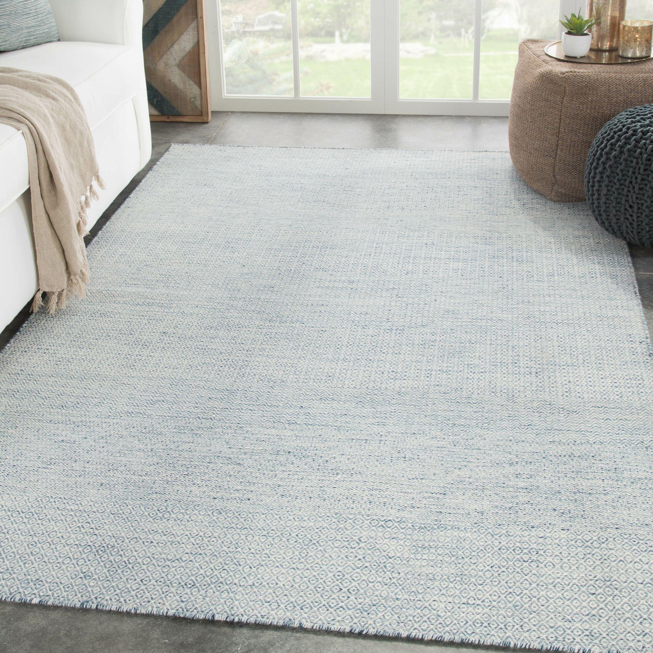 Prescott Geometric Hand-Woven Wool Light Blue/Ivory Area Rug Rug Size: Rectangle 8' x 10'