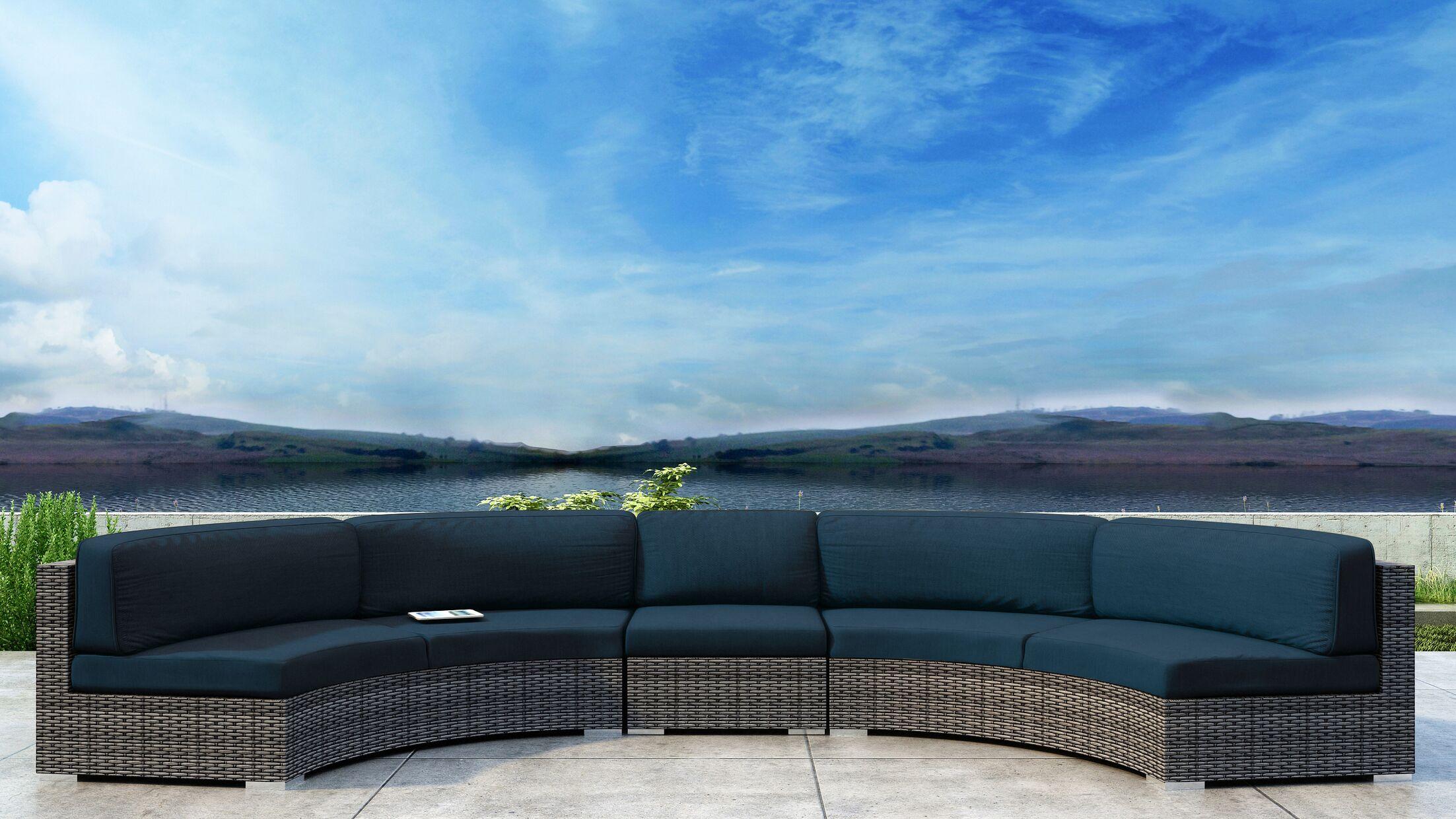 Gilleland 3 Piece Sectional Set with Sunbrella Cushion Cushion Color: Spectrum Indigo