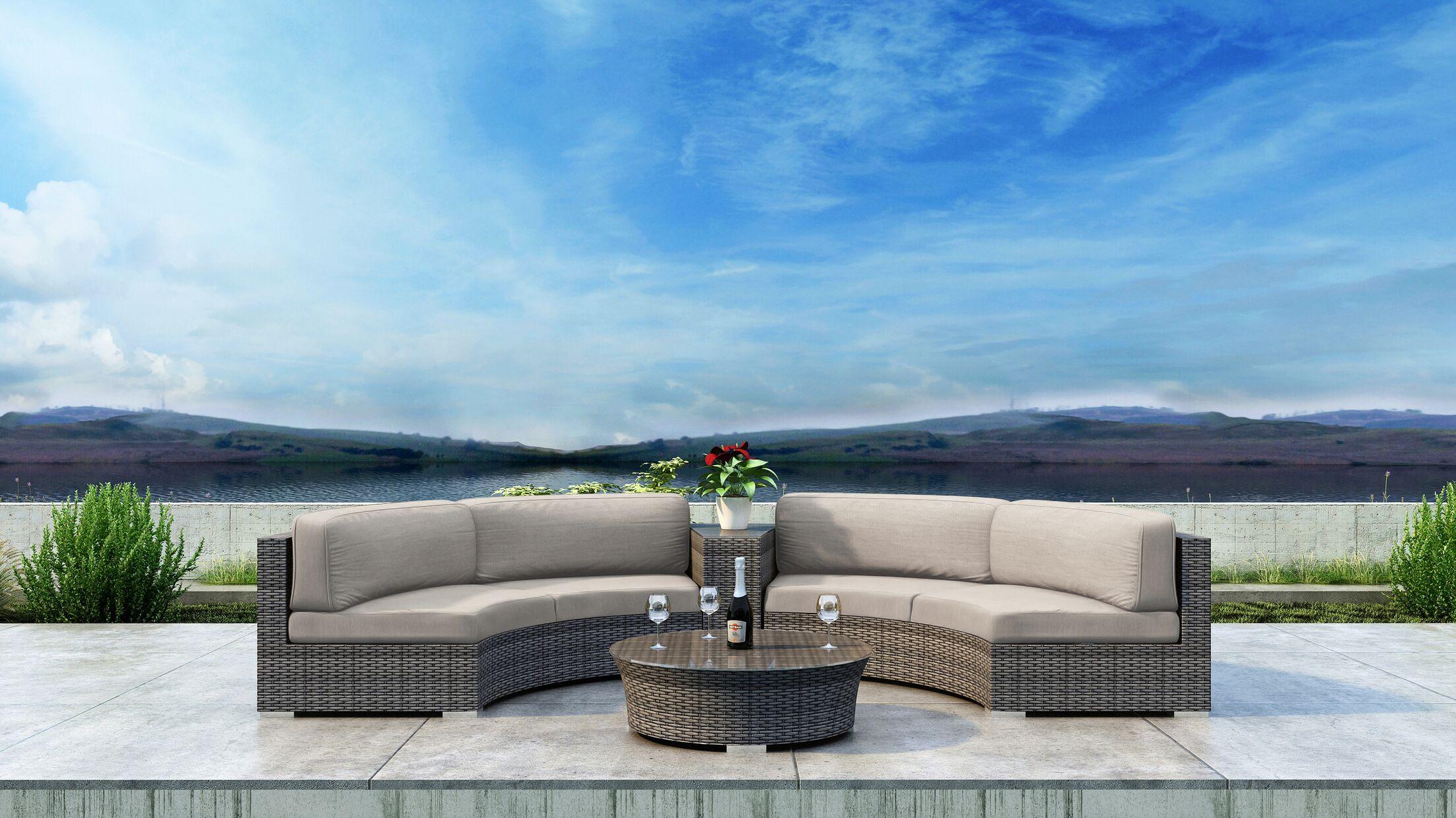 Gilleland 4 Piece Sectional Set with Sunbrella Cushion Cushion Color: Canvas Flax