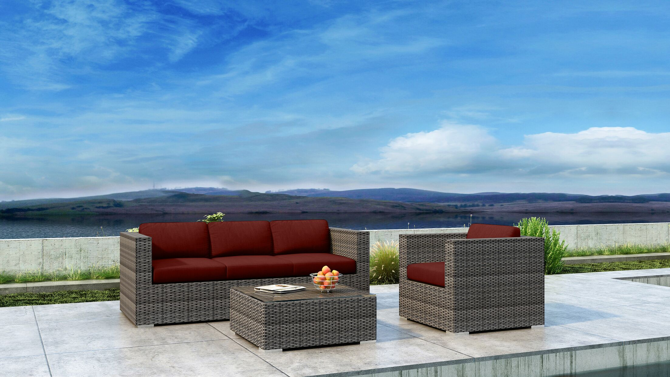 Gilleland 3 Piece Sofa Set with Sunbrella Cushion Cushion Color: Canvas Henna