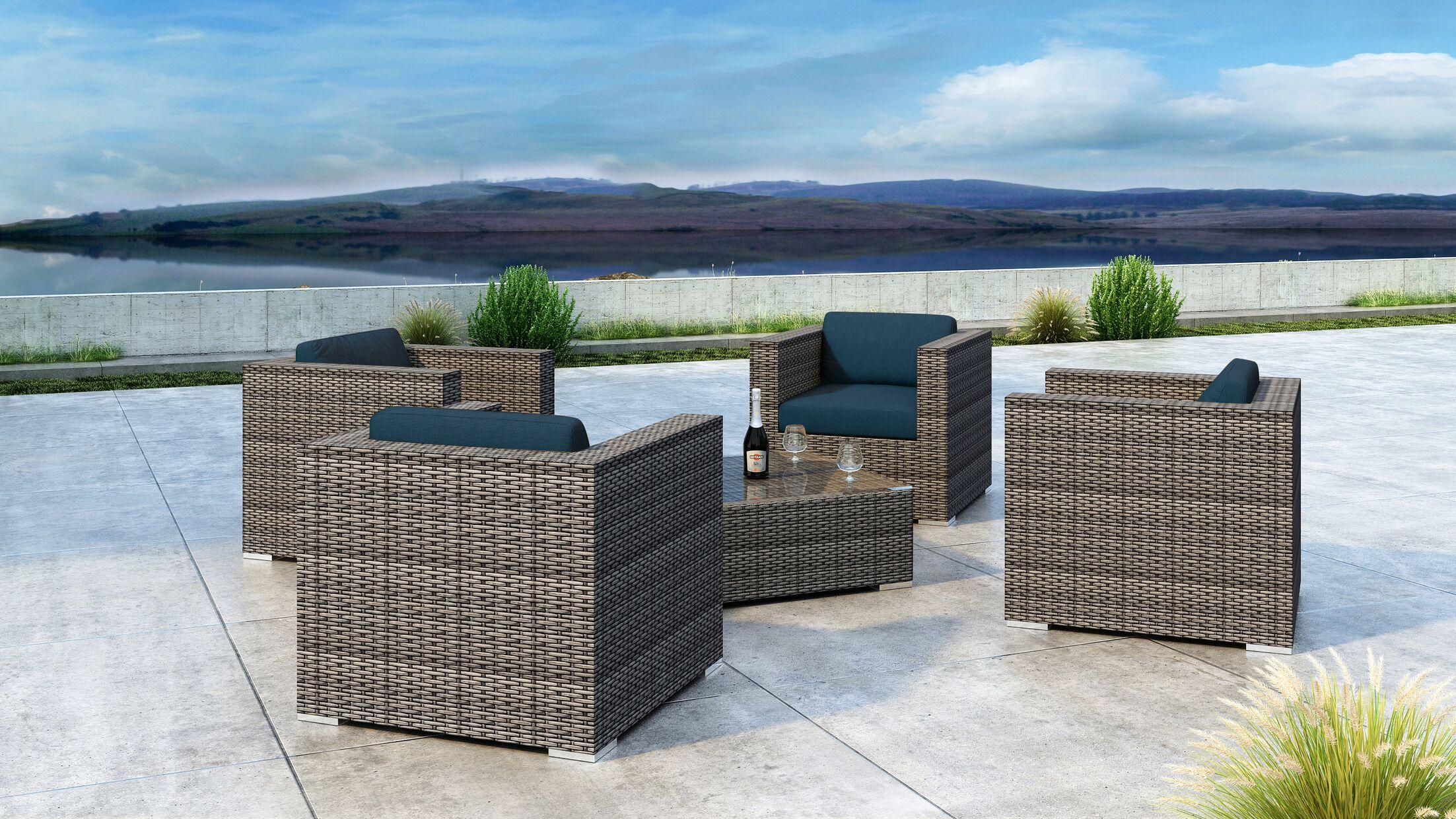Gilleland 5 Piece Sofa Set with Sunbrella Cushion Cushion Color: Spectrum Indigo