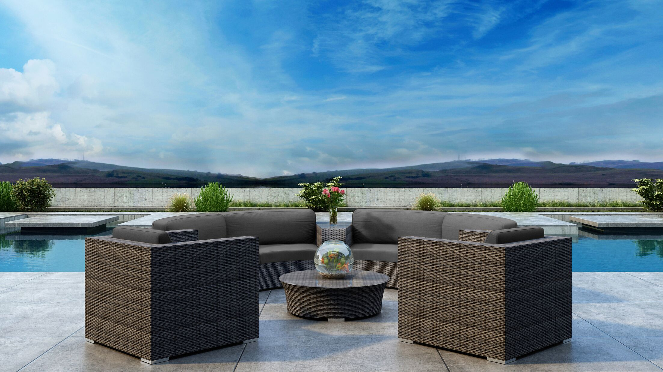 Gilleland 6 Piece Sectional Set with Sunbrella Cushion Cushion Color: Canvas Charcoal