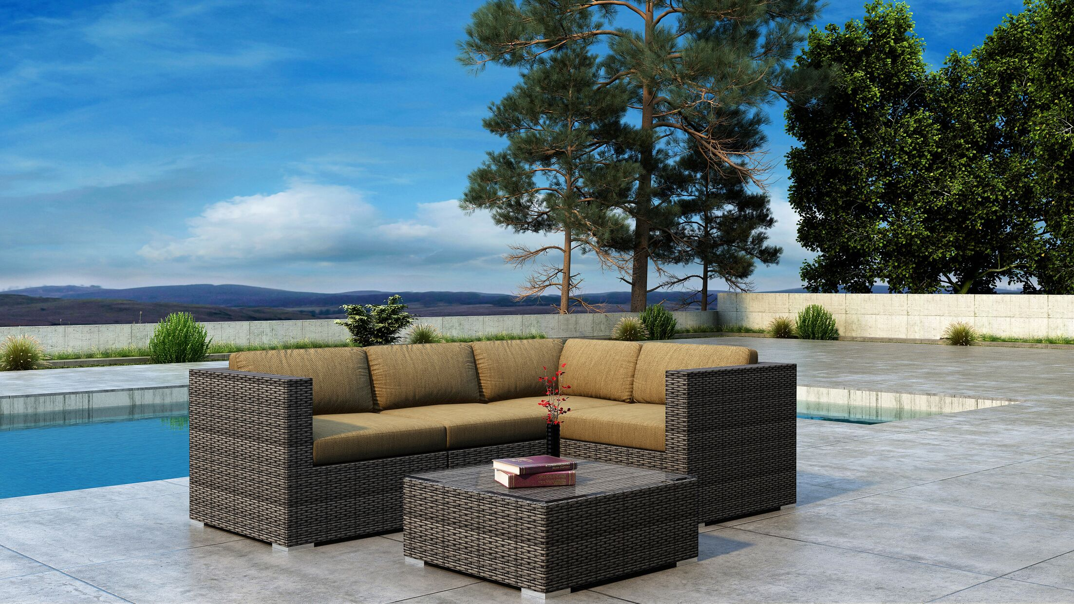 Gilleland 5 Piece Sectional Set with Sunbrella Cushion Cushion Color: Heather Beige
