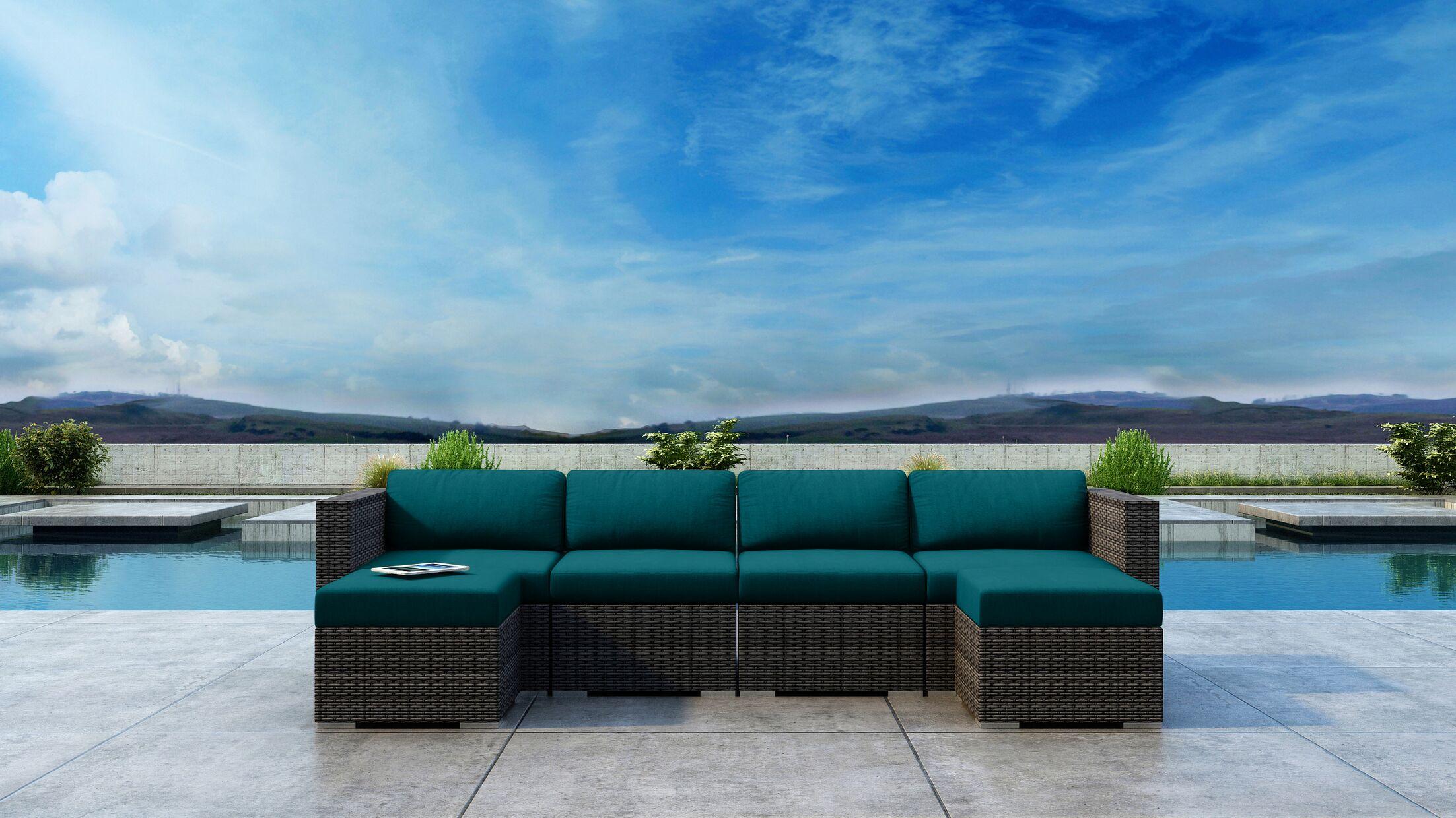 Gilleland 6 Piece Sectional Set with Sunbrella Cushion Cushion Color: Spectrum Peacock