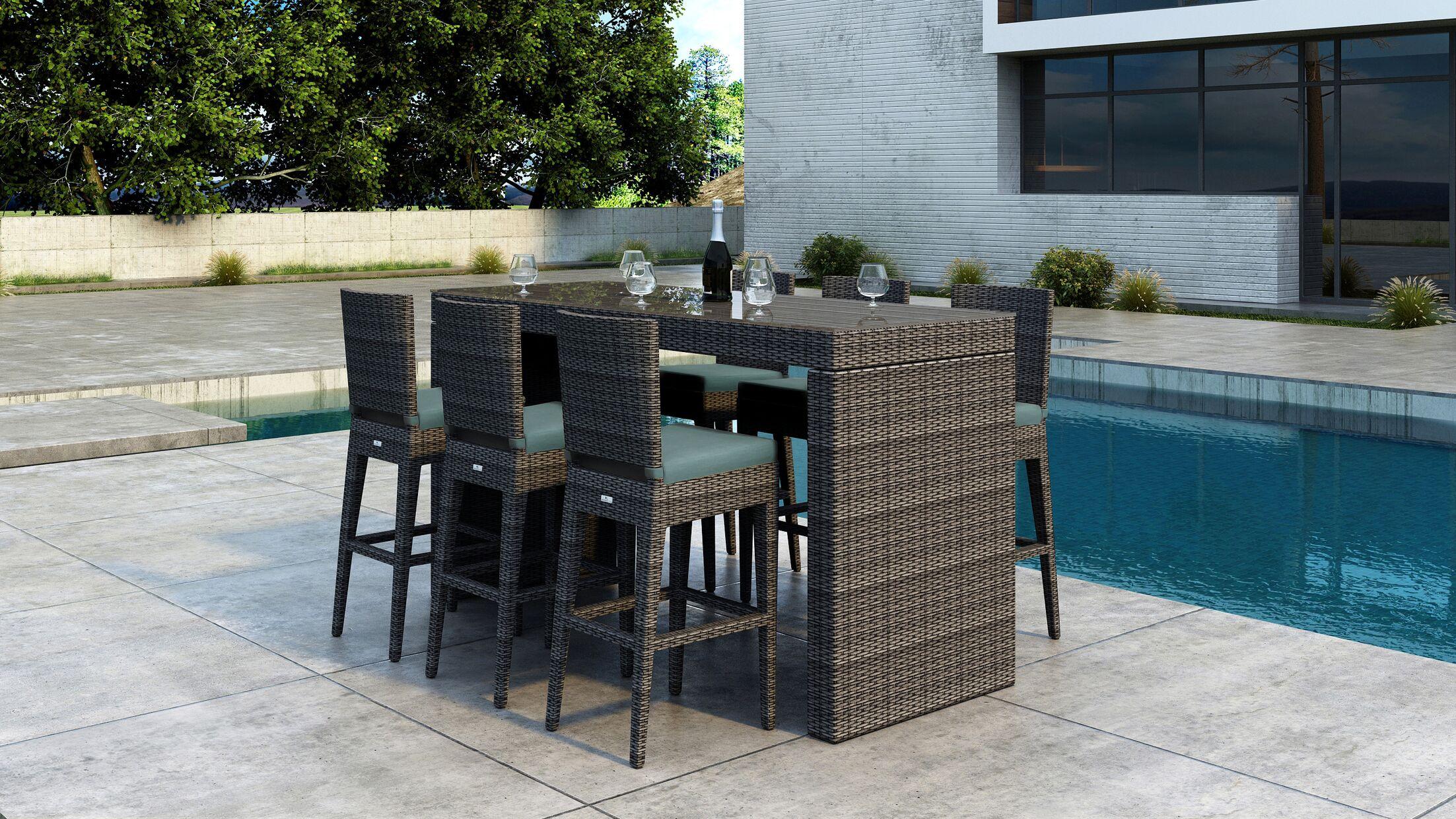 Gilleland 7 Piece Bar Height Dining Set with Sunbrella Cushion Cushion Color: Canvas Spa