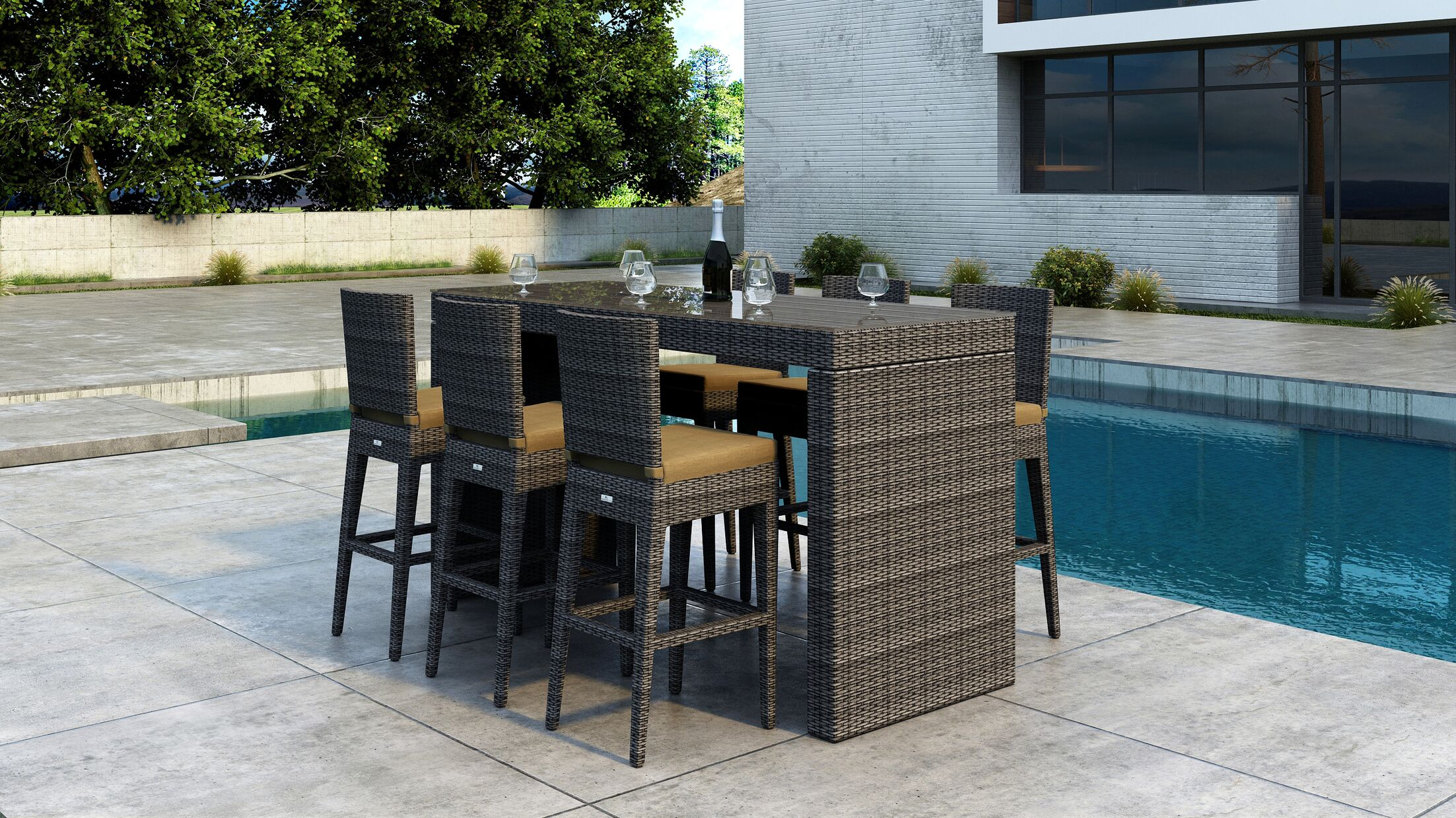 Gilleland 7 Piece Bar Height Dining Set with Sunbrella Cushion Cushion Color: Heather Beige