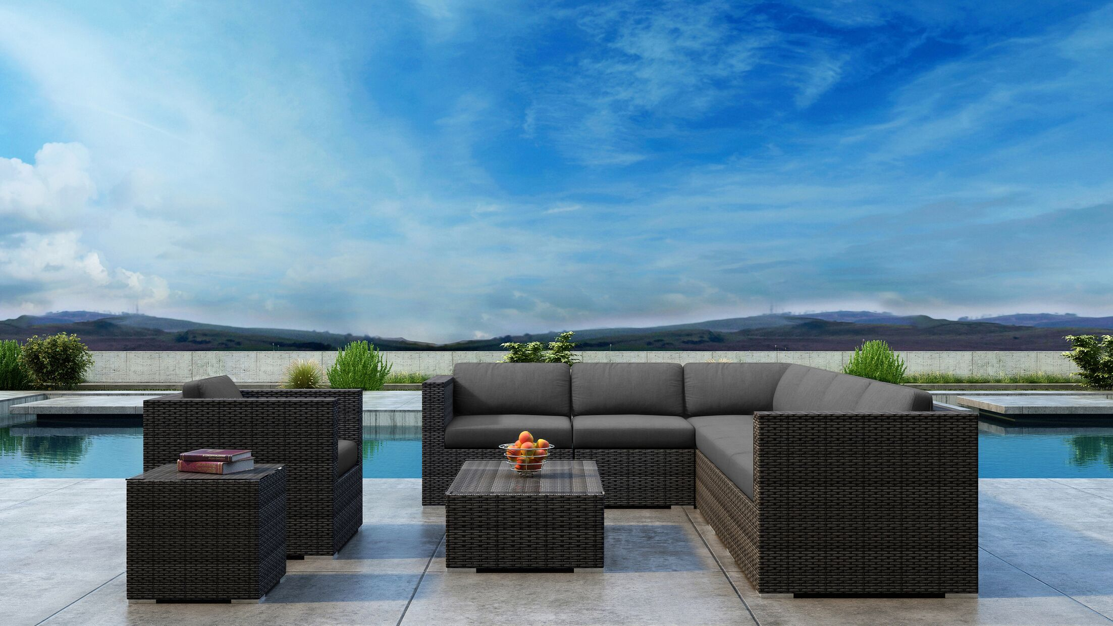 Gilleland 9 Piece Sectional Set with Sunbrella Cushion Cushion Color: Canvas Charcoal