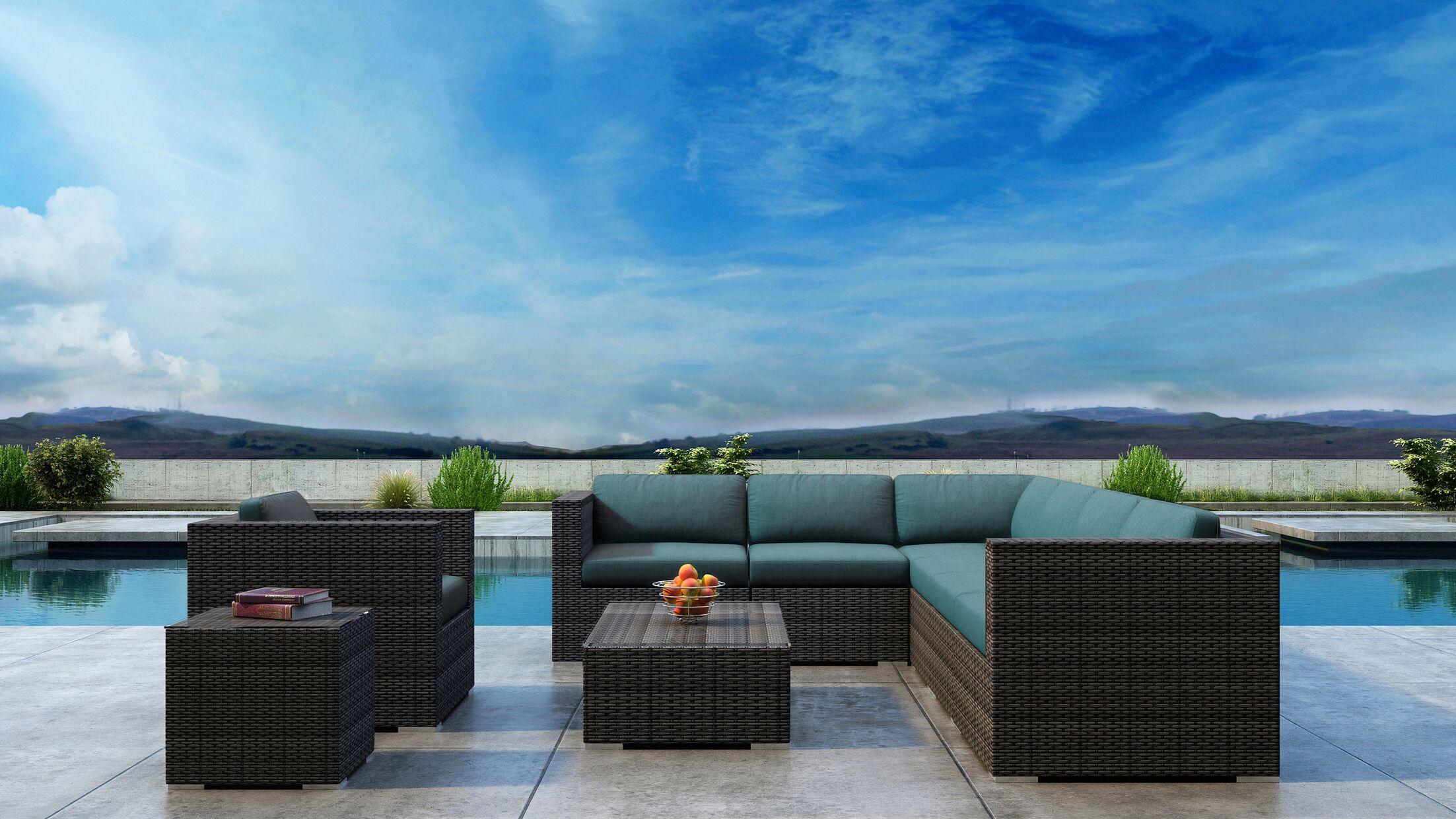 Gilleland 9 Piece Sectional Set with Sunbrella Cushion Cushion Color: Cast Lagoon