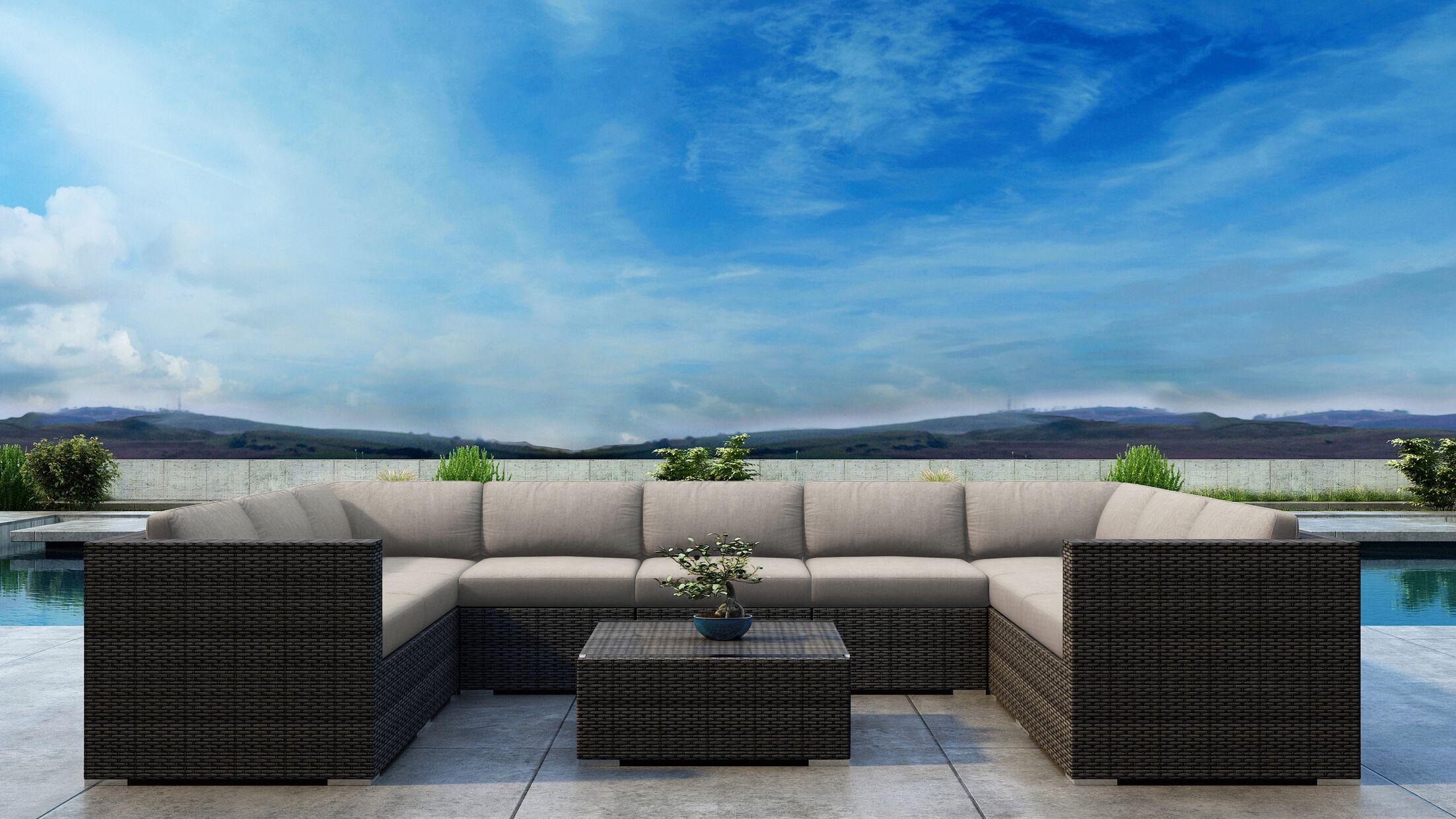 Gilleland 10 Piece Sectional Set with Sunbrella Cushion Cushion Color: Canvas Flax