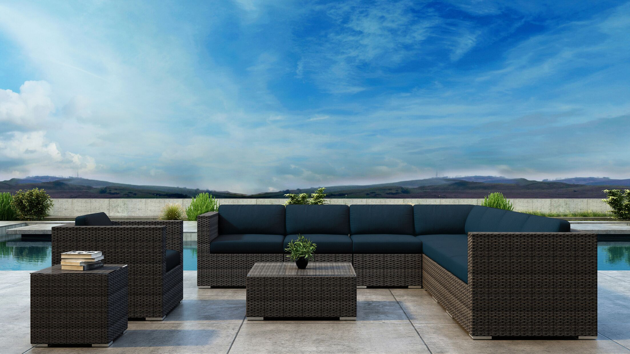 Gilleland 10 Piece Sectional Set with Sunbrella Cushion Cushion Color: Spectrum Indigo