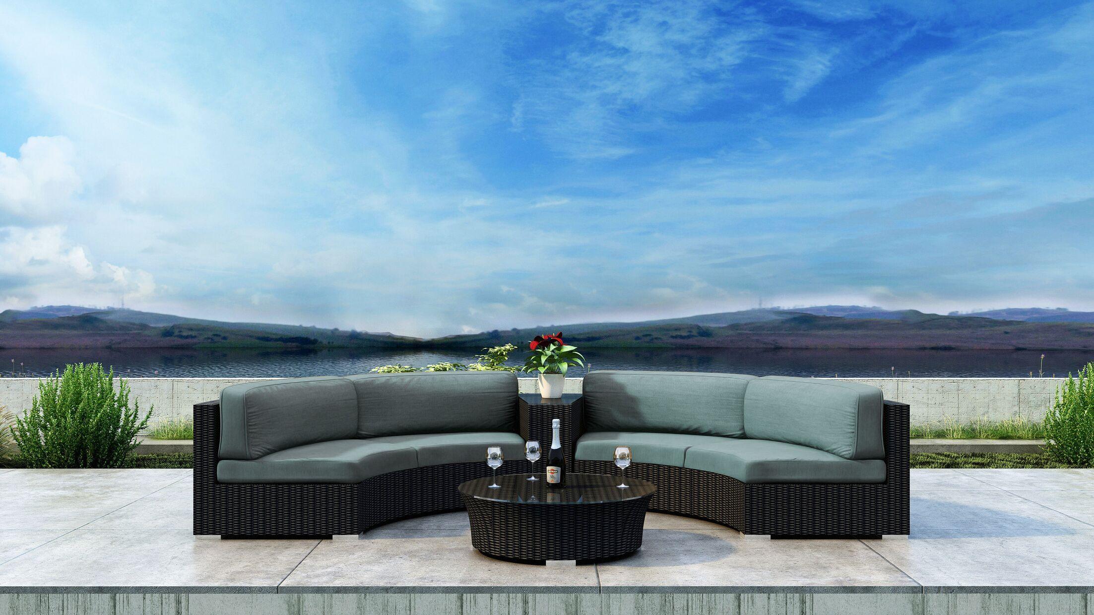 Glendale 4 Piece Sectional Set with Sunbrella Cushion Cushion Color: Canvas Spa