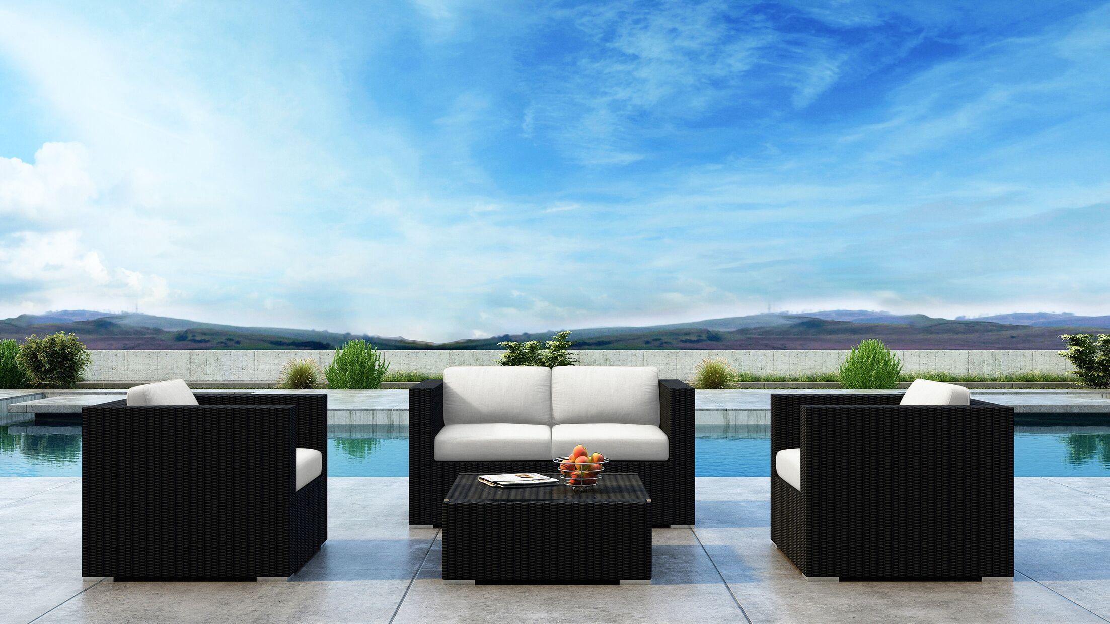 Glendale 4 Piece Sofa Set with Sunbrella Cushion Cushion Color: Canvas Natural
