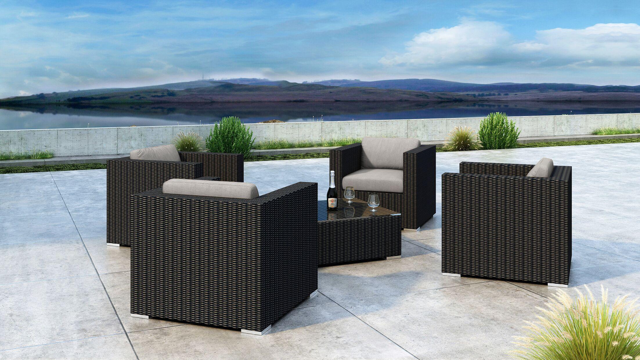 Glendale 5 Piece Sofa Set with Sunbrella Cushion Cushion Color: Cast Silver