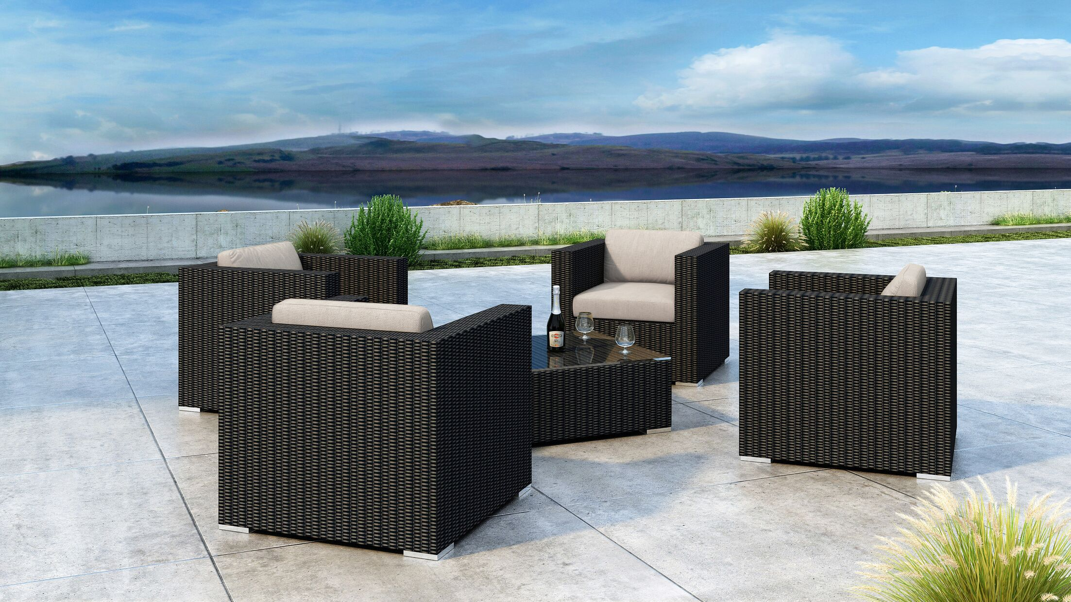 Glendale 5 Piece Sofa Set with Sunbrella Cushion Cushion Color: Canvas Flax