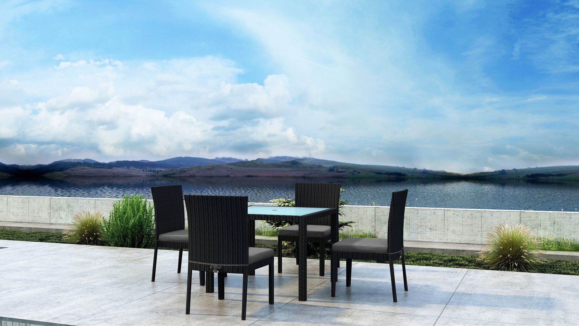 Glendale 5 Piece Dining Set with Sunbrella Cushion Cushion Color: Canvas Charcoal