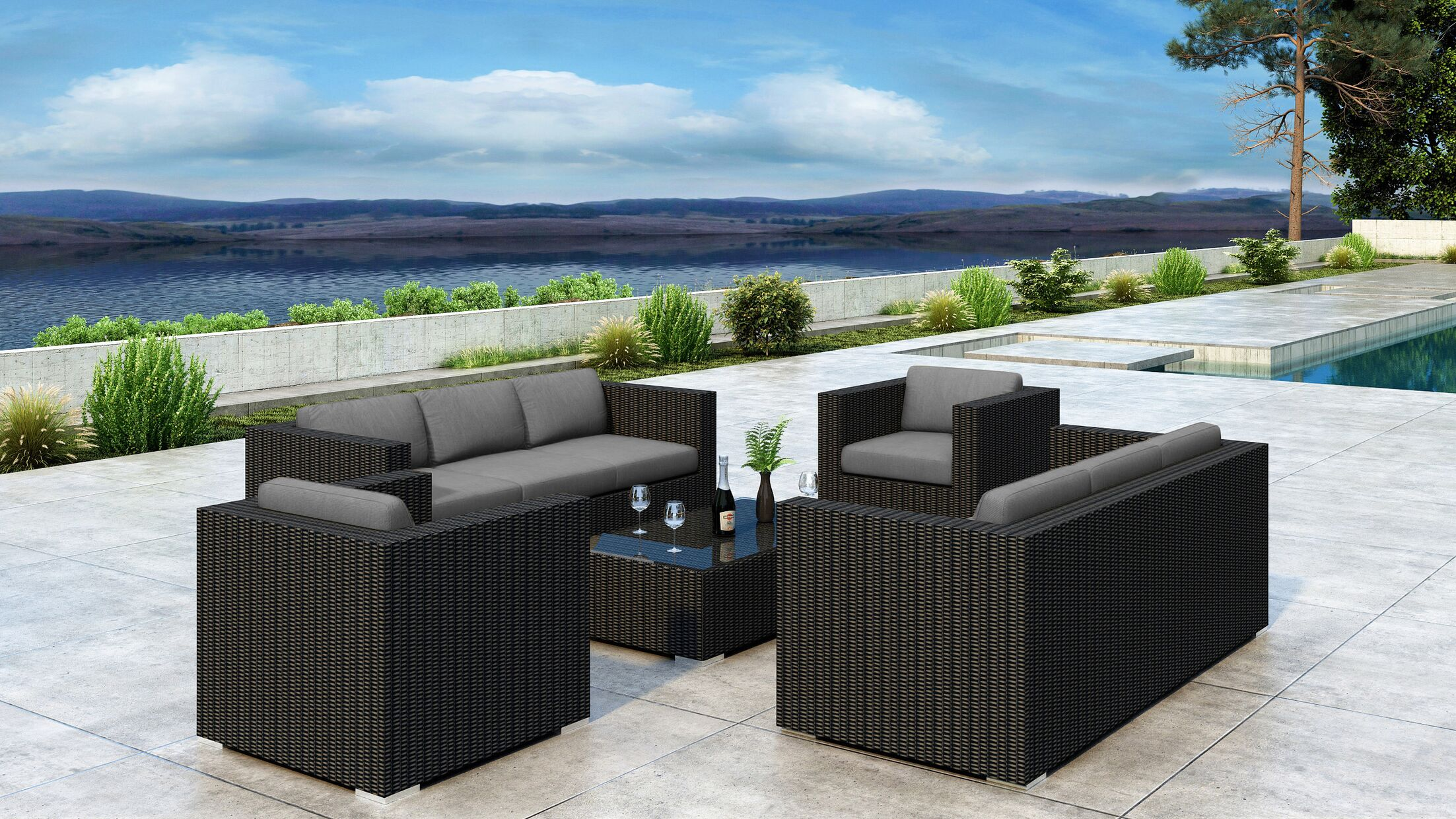 Glendale 5 Piece Sofa Set with Sunbrella Cushion Cushion Color: Canvas Charcoal