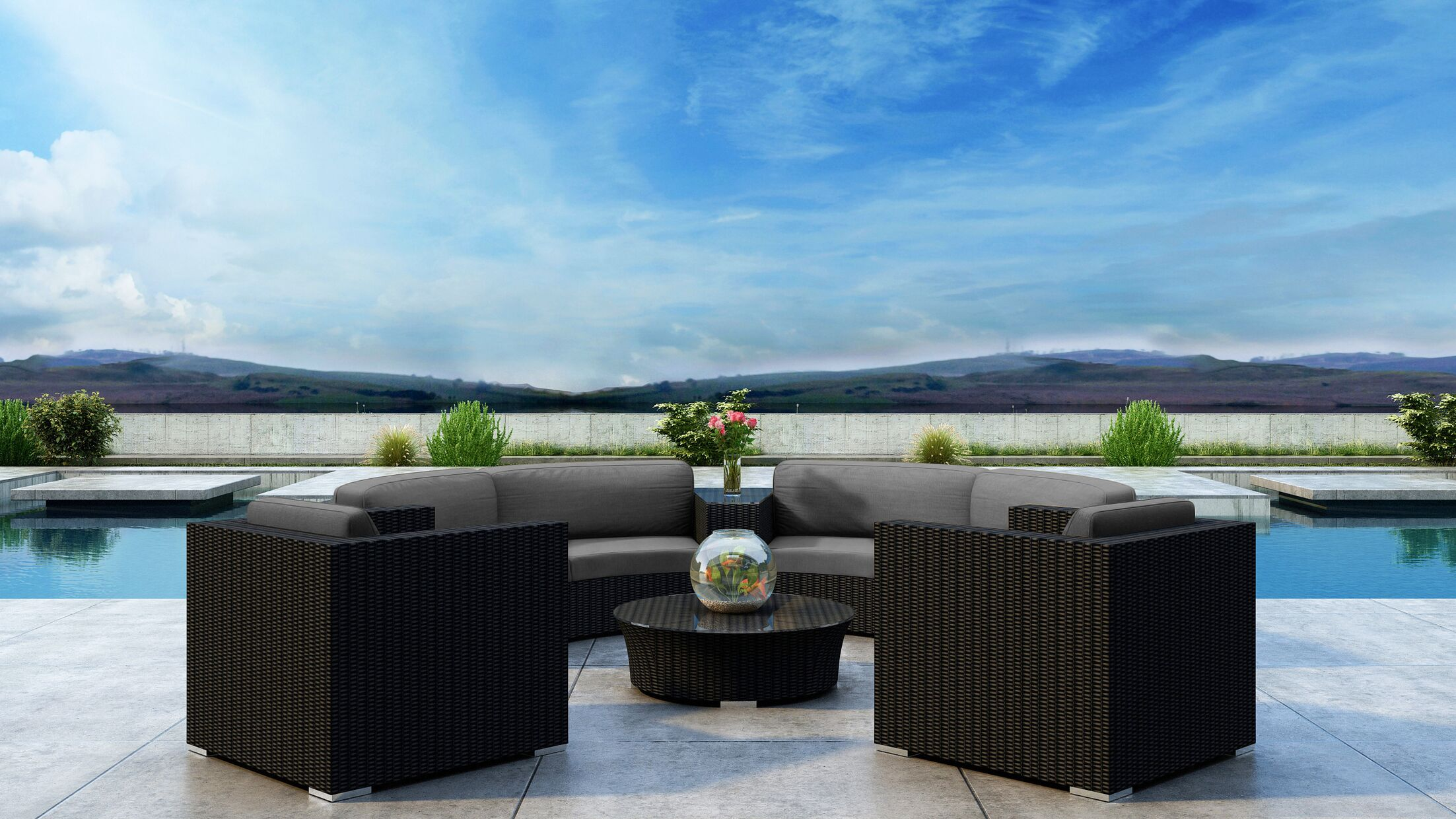 Glendale 6 Piece Sectional Set with Sunbrella Cushion Frame Finish: Coffee Bean, Cushion Color: Canvas Charcoal