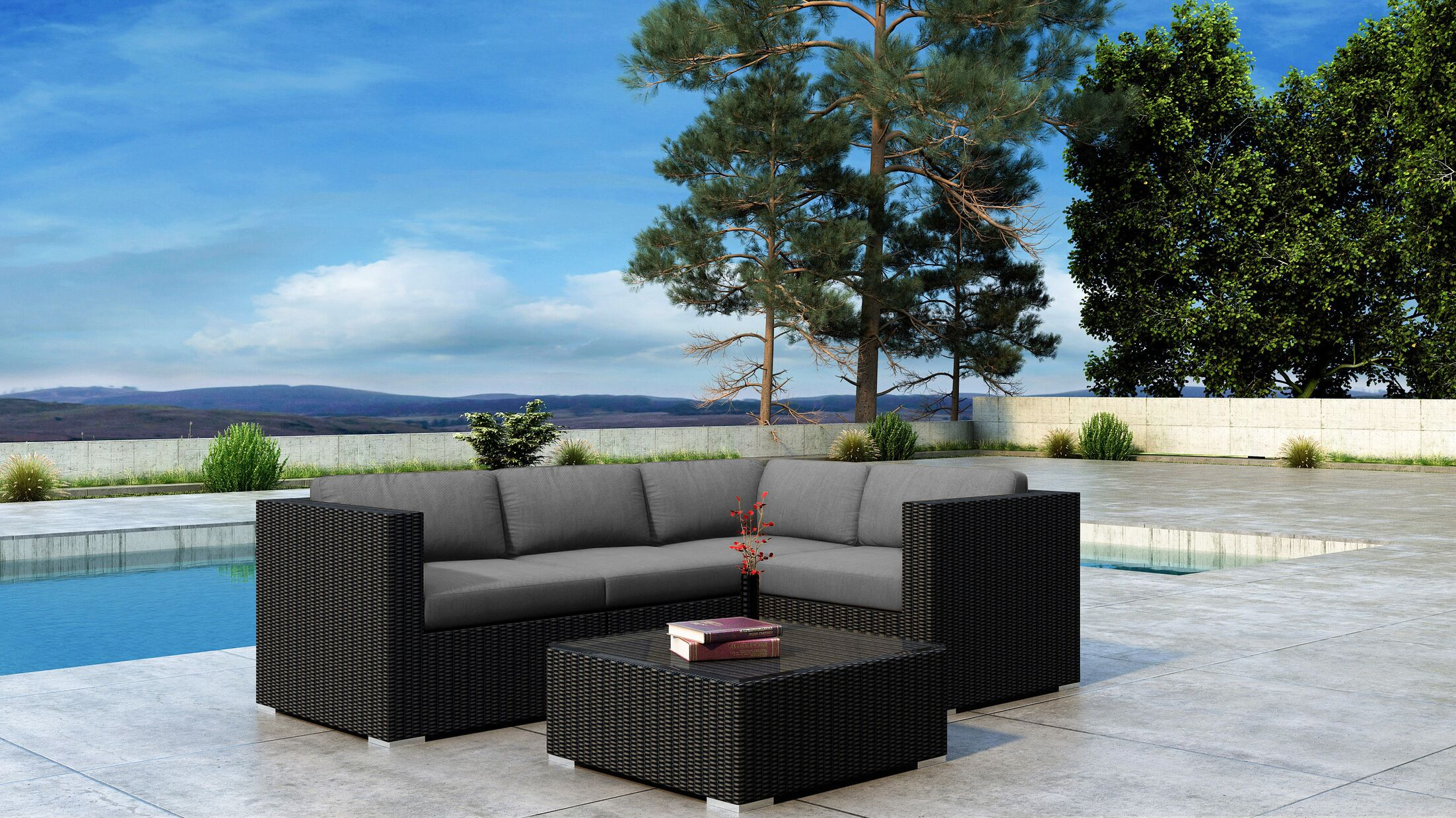Glendale 5 Piece Sofa Set with Sunbrella Cushion Cushion Color: Canvas Charcoal