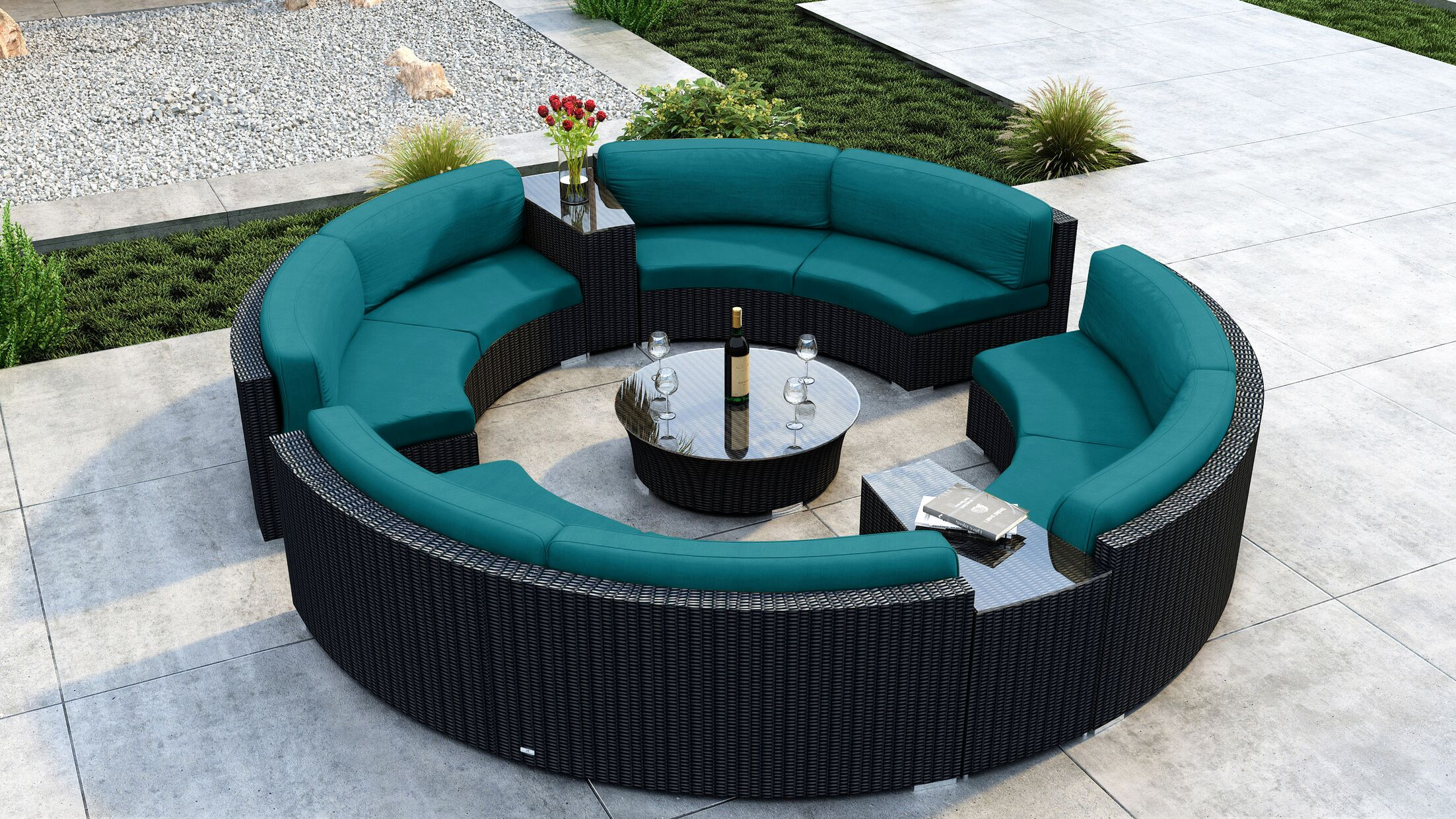 Glendale 7 Piece Sectional Set with Sunbrella Cushion Cushion Color: Spectrum Peacock