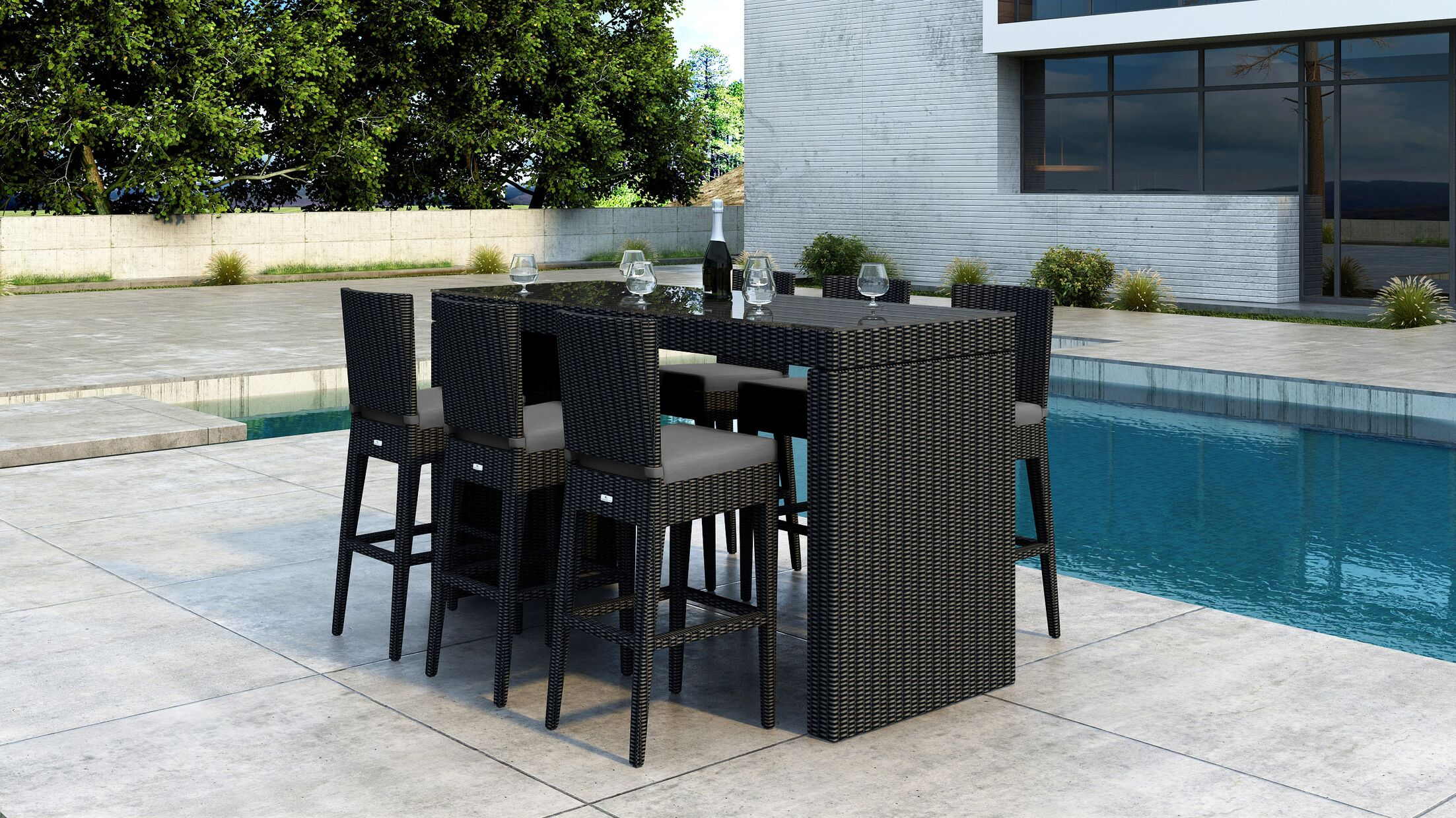 Glendale 7 Piece Bar Height Dining Set with Sunbrella Cushion Cushion Color: Canvas Charcoal