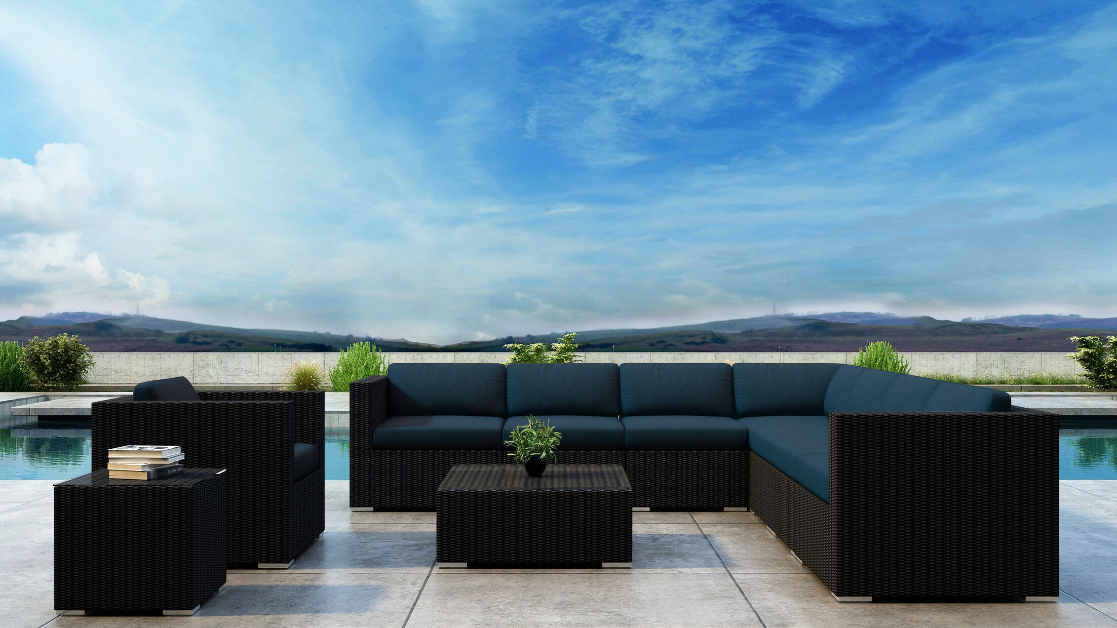 Glendale 10 Piece Sectional Set with Sunbrella Cushion Cushion Color: Spectrum Indigo