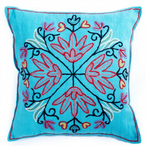 Albina Embroidered Kashmir Pillow Cover Color: Turquoise