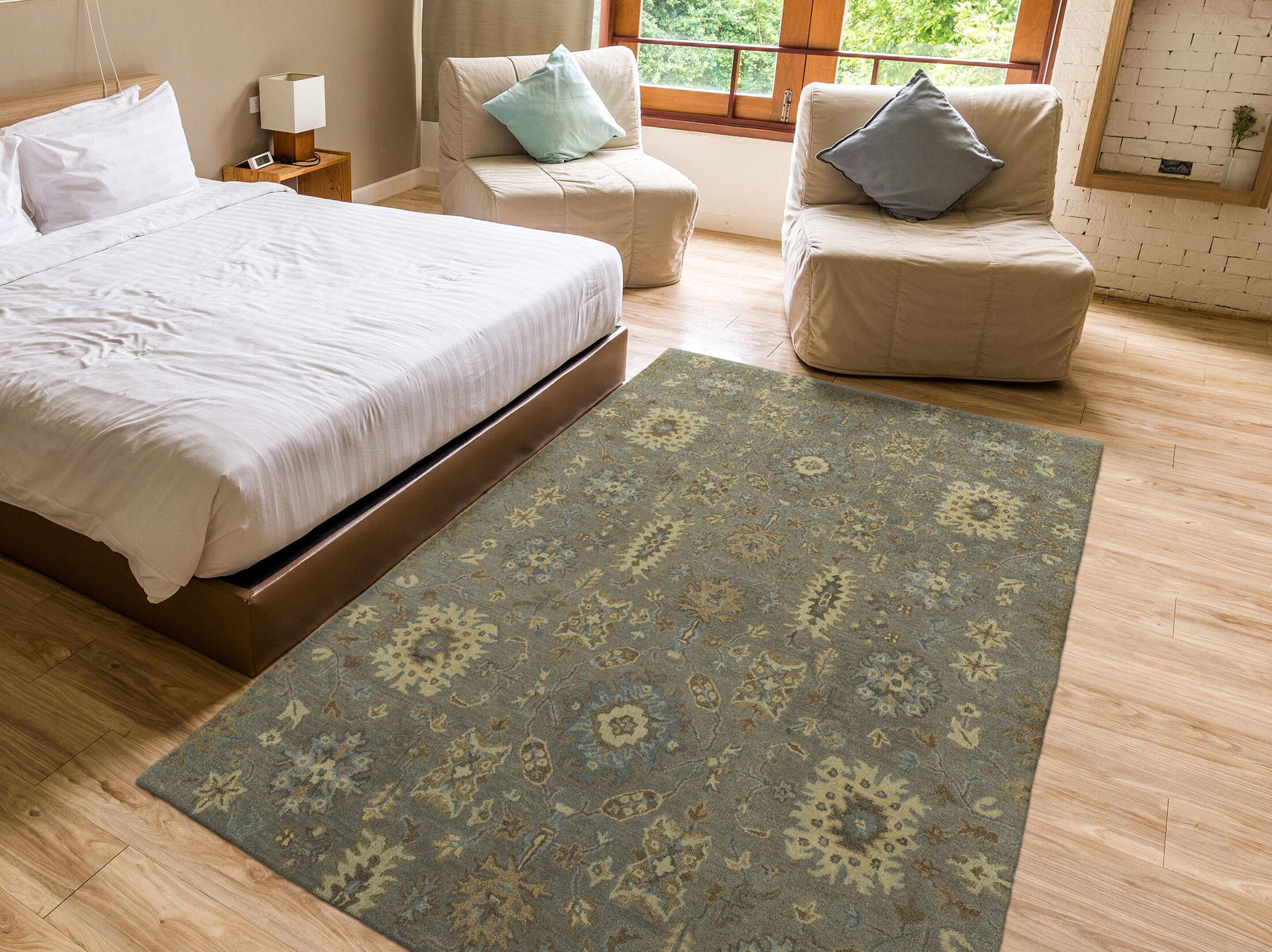 Romarin Hand-Tufted Wool Mushroom Area Rug Rug Size: Rectangle 5' x 7'9