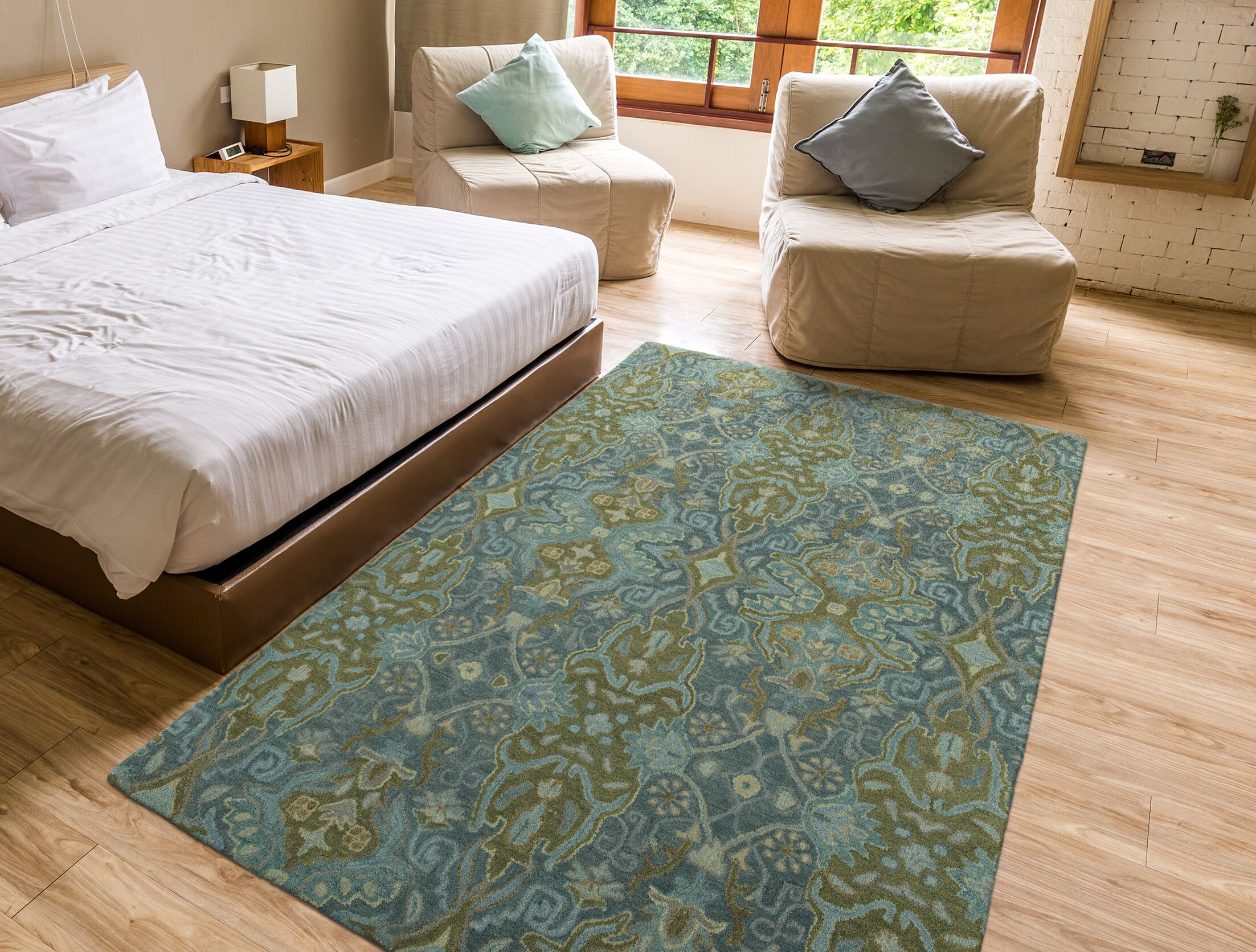 Burcott Hand-Tufted Wool Peacock/Light Brown Area Rug Rug Size: Rectangle 5' x 7'9