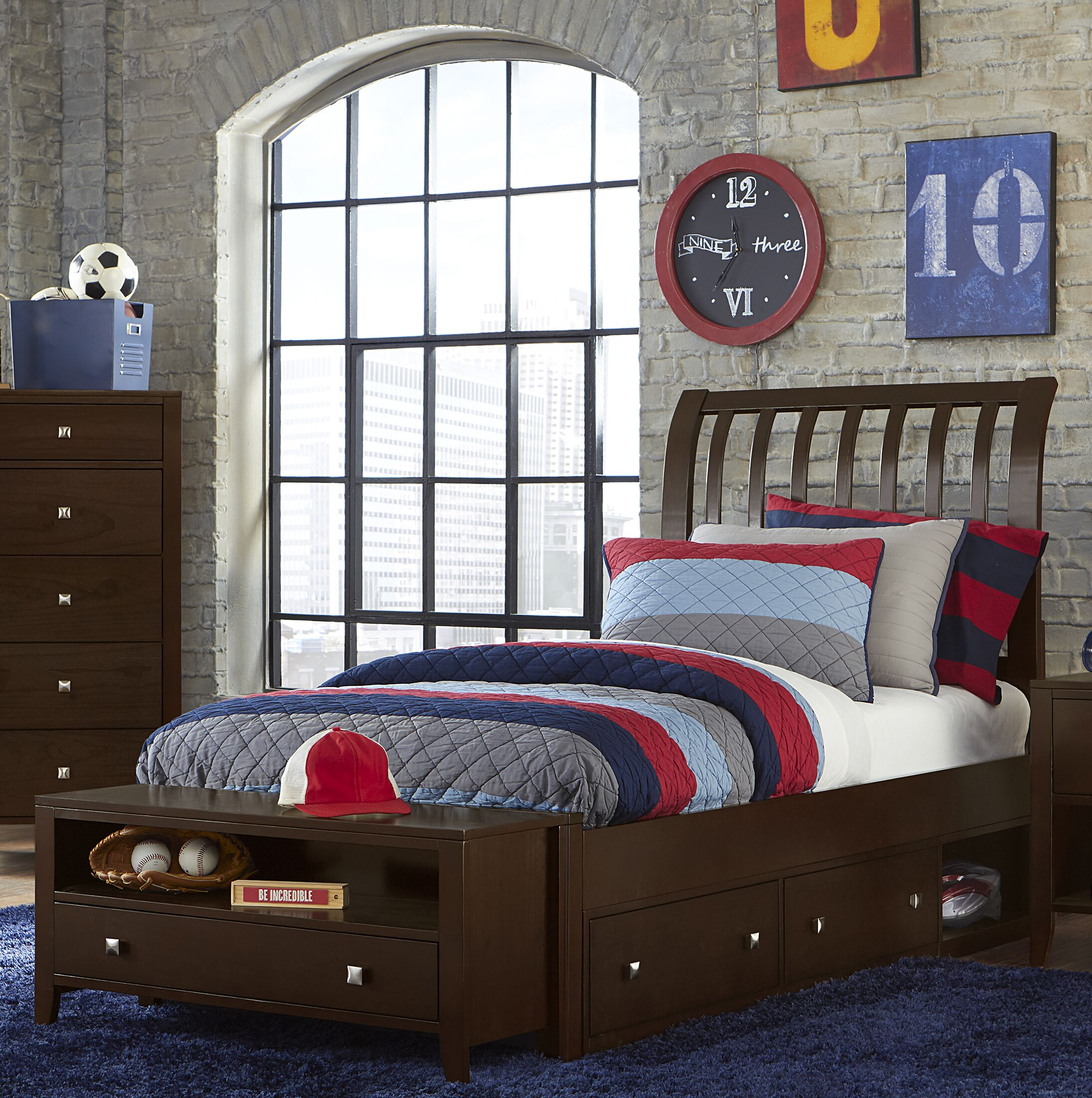 Granville Rake Storage Sleigh Bed Color: Chocolate, Size: Twin