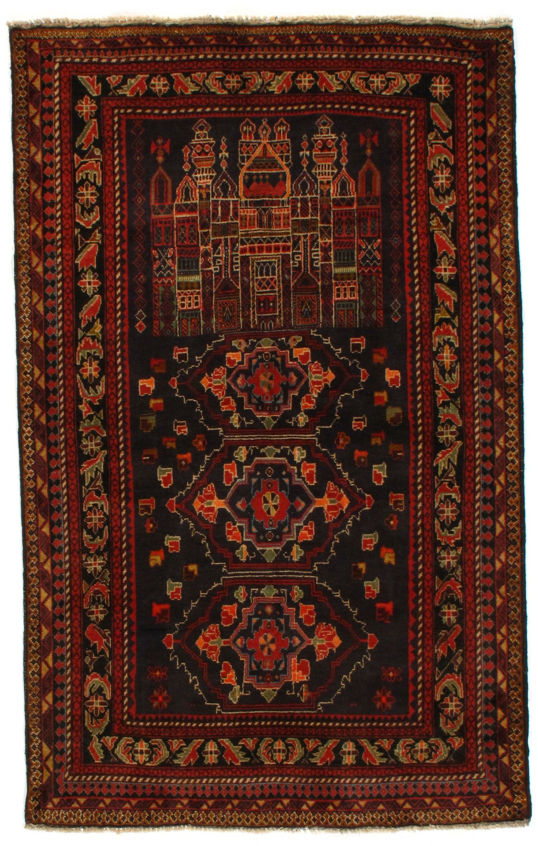 Afghan Baluch Hand-Knotted Wool Brown/Black Area Rug