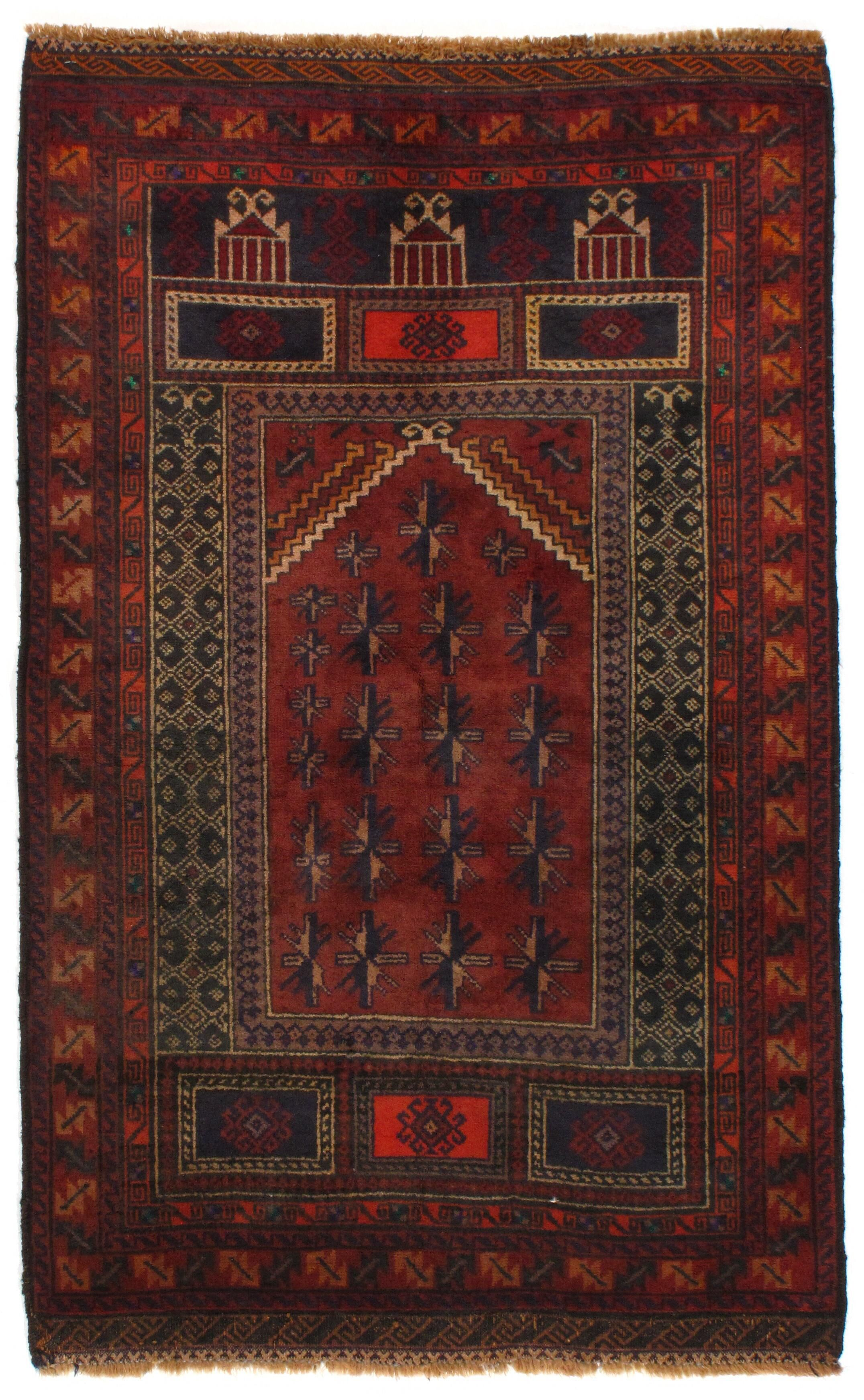 Afghan Baluch Hand-Knotted Wool Rust Area Rug