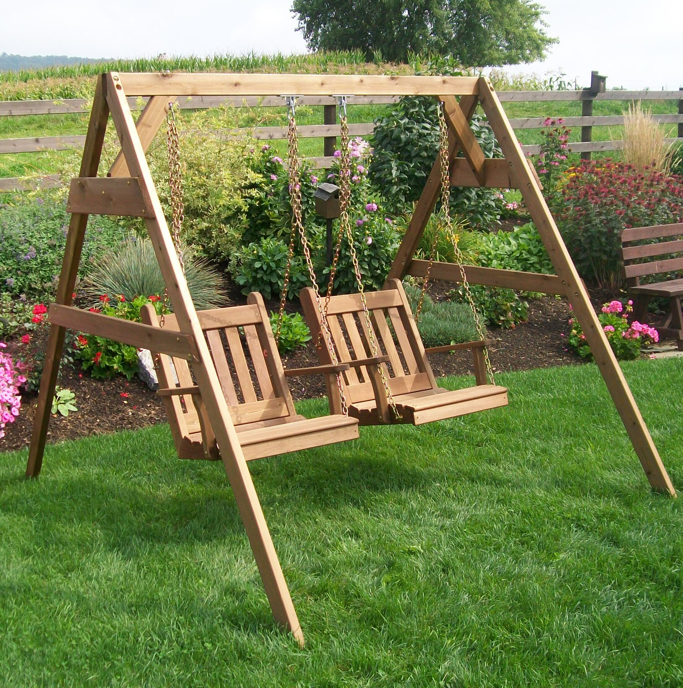 League A-Frame Porch Swing Stand Size: 5', Finish: Gray Stain